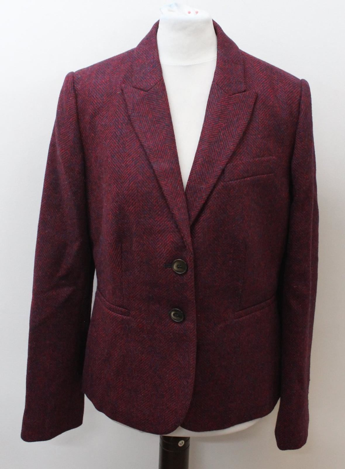 a spina Uk12 Giacca Boden Wool Eu40 spina Bnwt monopetto pesce di pesce Ladies Red di a wOwFqzvAx