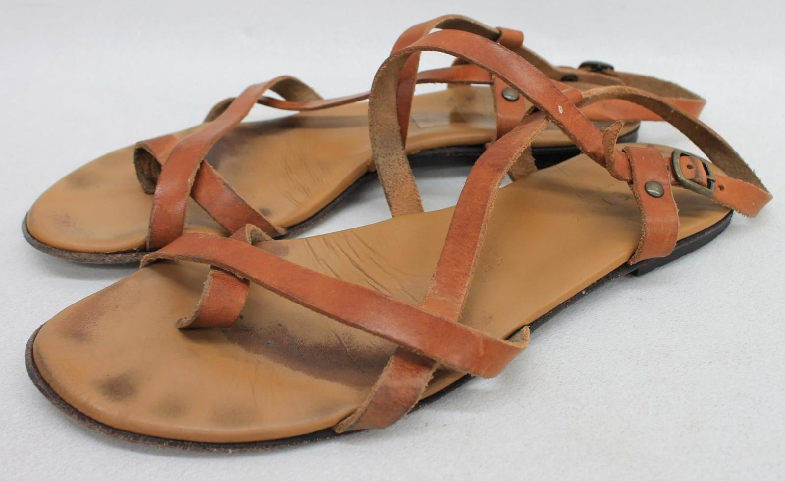 POETRY-Ladies-Tan-Brown-Leather-Strappy-Slingback-Flat-Sandals-Shoes-UK7-EU40