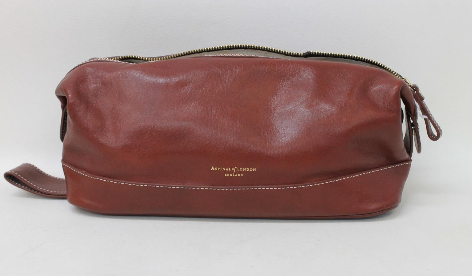 ASPINAL OF LONDON Men's Brown Cognac Smooth Leather Toiletry Wash Bag NEW |  eBay