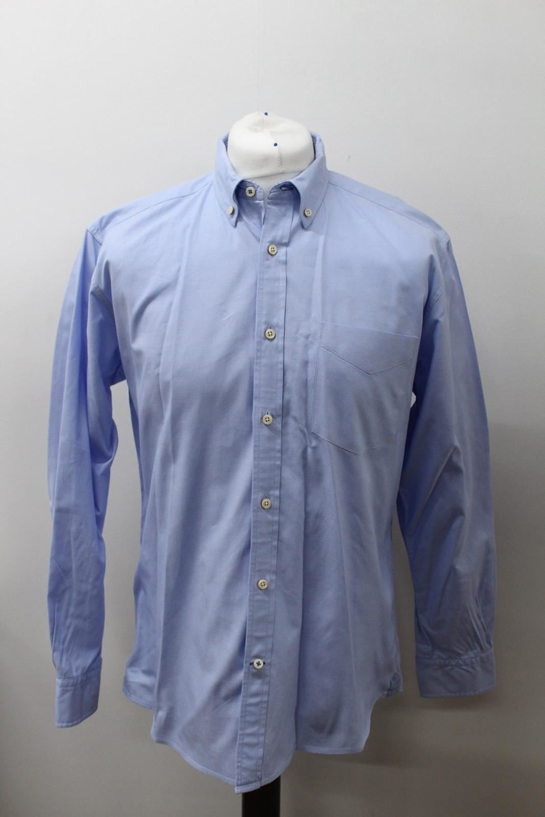 T-M-LEWIN-Men-039-s-Blue-Cotton-Long-Sleeve-Collared-Side-Pocket-Casual-Shirt-L