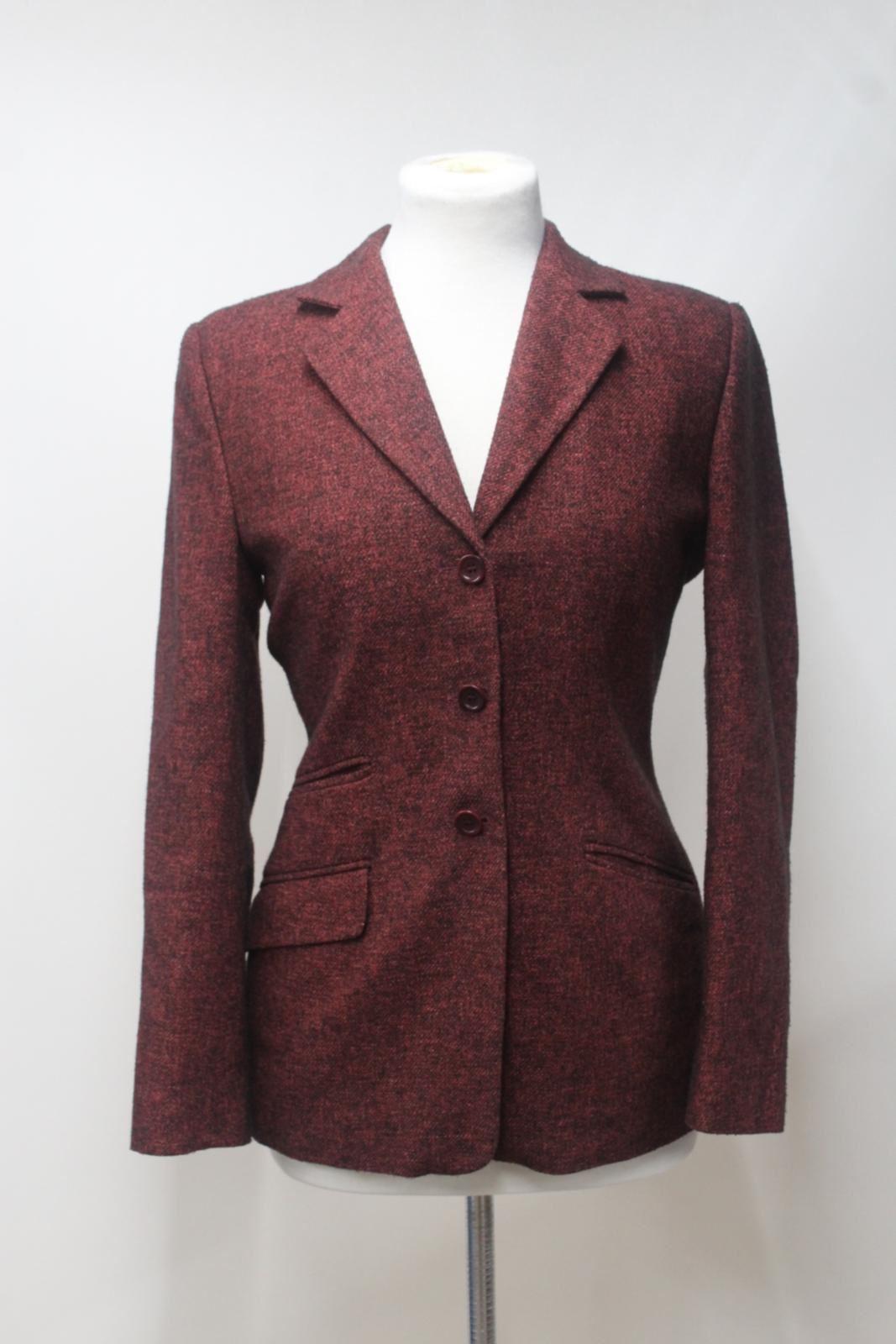 PENNY-BLACK-Ladies-Brick-Red-Wool-Blend-Single-Breasted-Jacket-Blazer-IT40-UK8