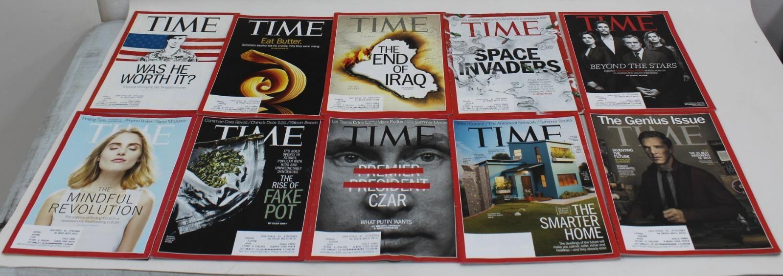 TIME-MAGAZINE-2014-Lot-Of-10-Pot-Putin-Bergdahl-Butter-Homes-Iraq-Space-Genius