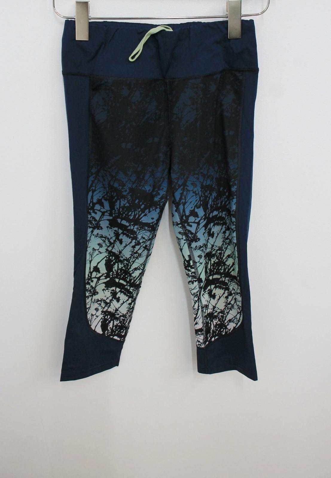 Sweaty-Betty-Damas-Azul-Oscuro-Impreso-Negro-Recortada-Leggings-Talla-S-W26-L18