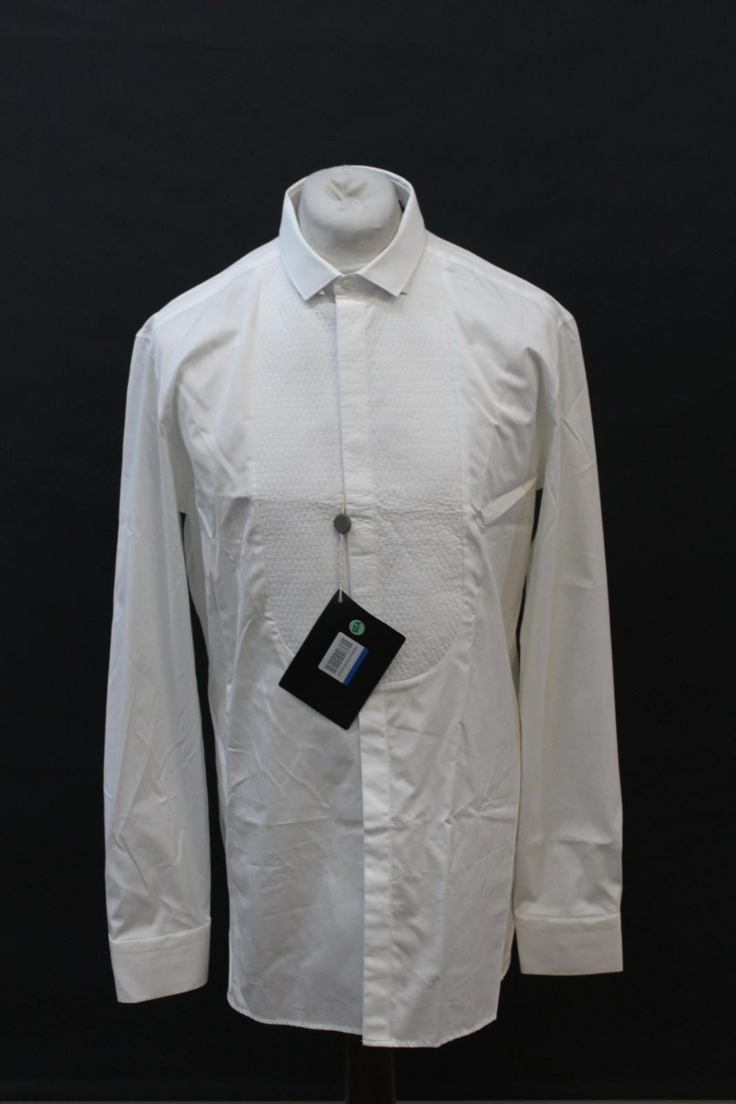 Neil-Barrett-Hombre-Blanco-De-Algodon-Manga-Larga-Camiseta-Formal-Cuello-17-034-43cm-BNWT