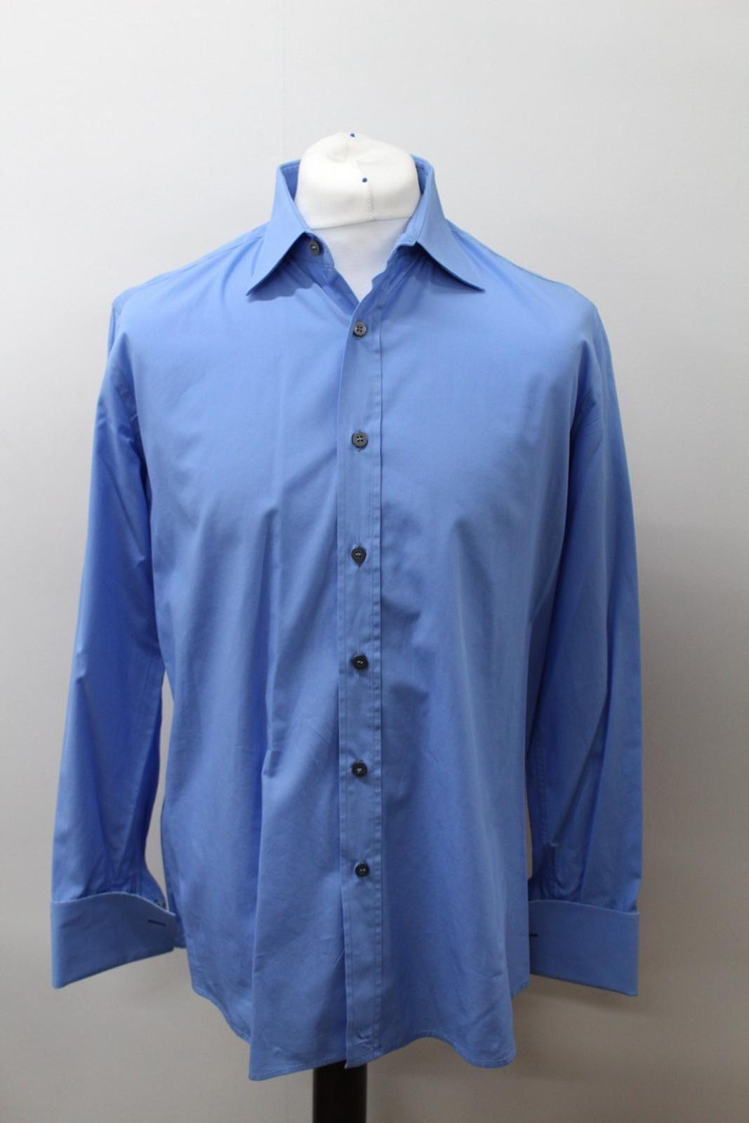 Paul-Smith-Hombres-Azul-Algodon-Mangas-Largas-Camisa-De-Puno-Doble-Cuello-16-5-034-42cm