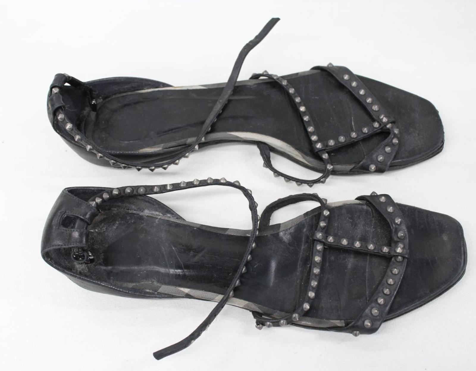 BURBERRY-Ladies-Black-Leather-Studded-Flat-Ankle-Strap-Sandals-EU40-UK7