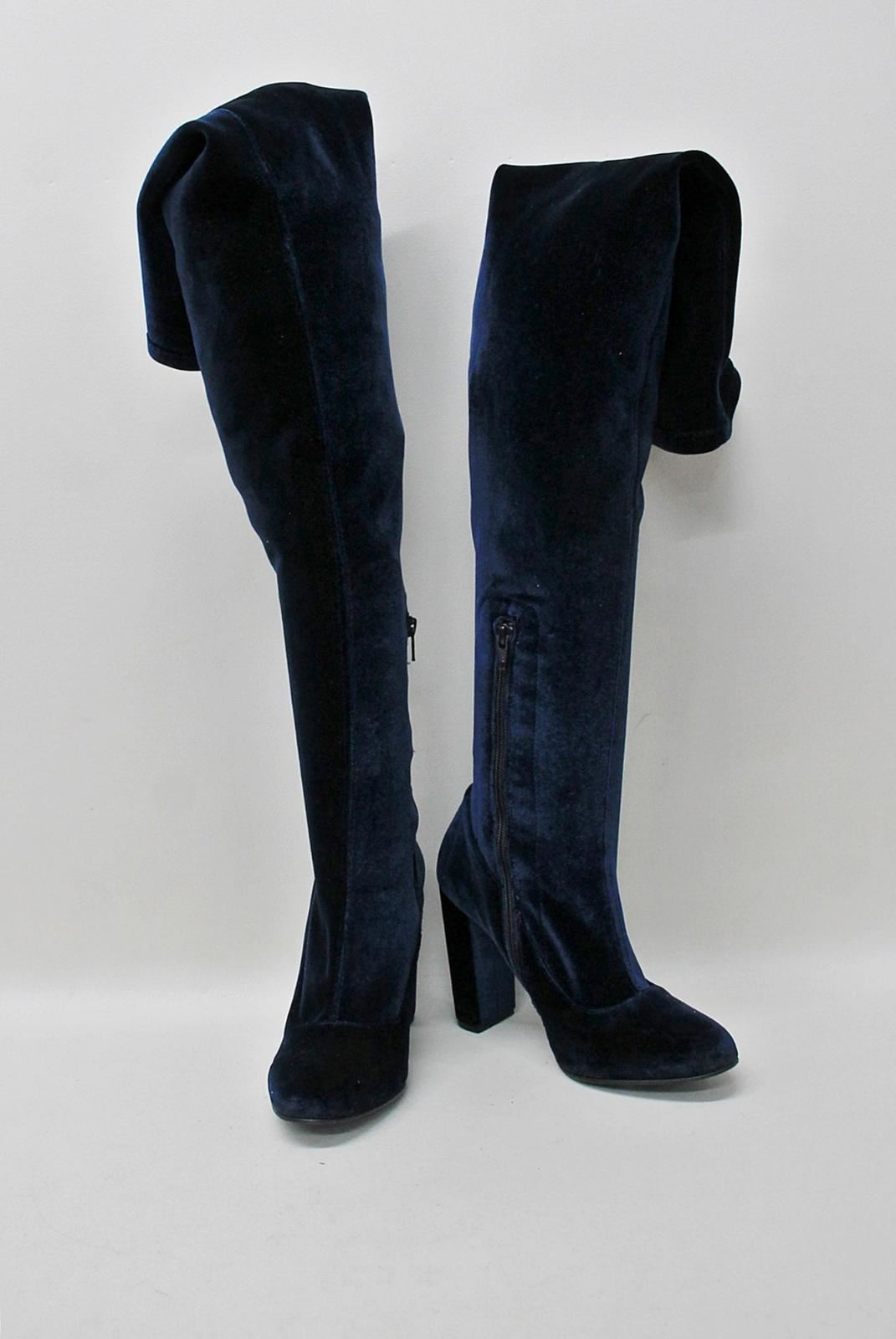 CARVELA-KURT-GEIGER-Ladies-Navy-Blue-Velvet-Round-Toe-Over-Knee-Boots-EU40-UK7