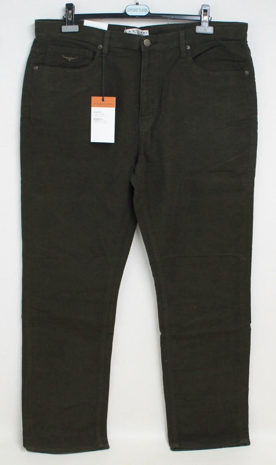 R. M. WILLIAMS Men's Green Ramco Low Rise Tapered Regular Fit Jeans W40 L32 BNWT