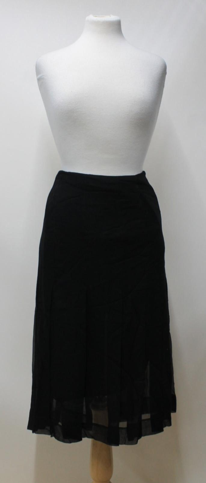 DONNA-KARAN-Signature-Ladies-Black-Chiffon-Silk-Pleated-Midi-Skirt-Size-UK14