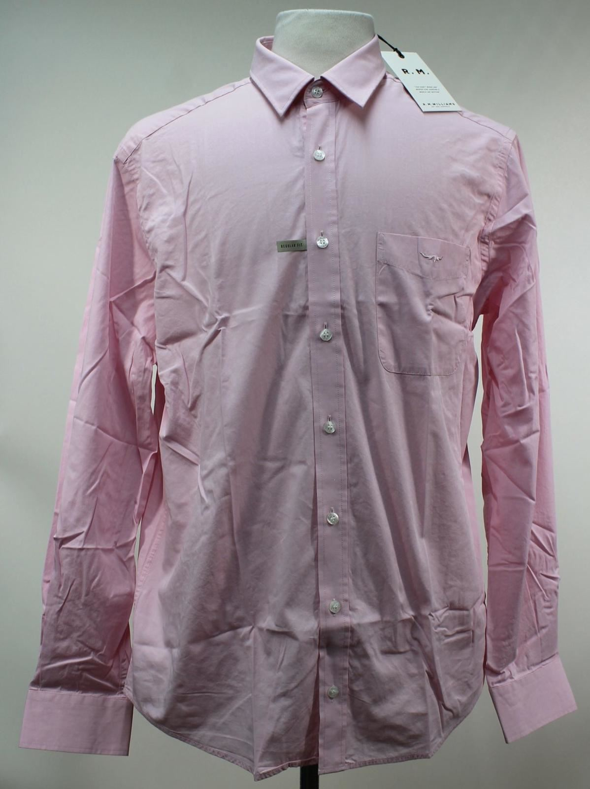 BNWT R. M. WILLIAMS Men's Pink Cotton Long Sleeved Collared Shirt Size L