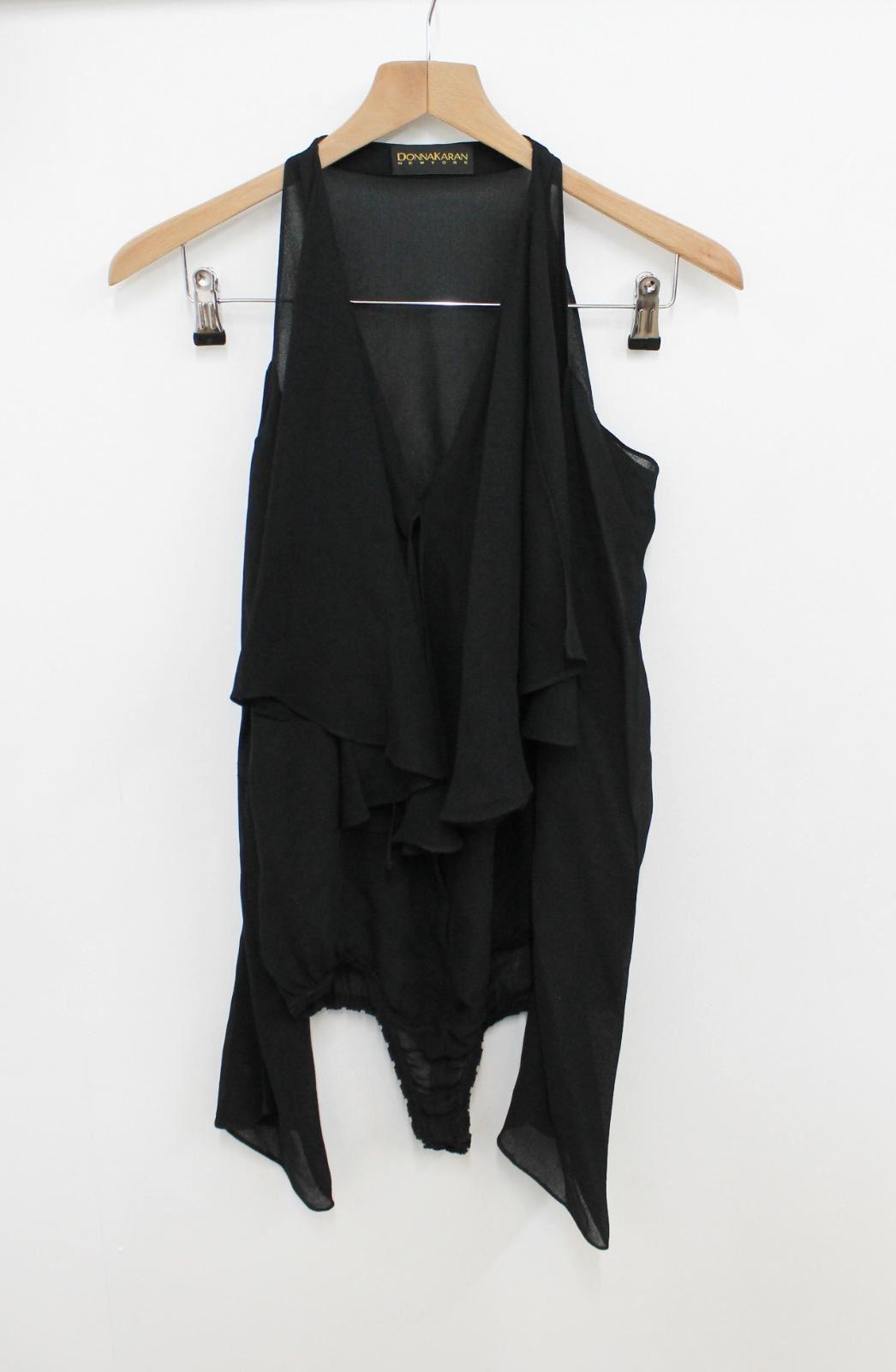 Ladies Bodysuit Sleeved Mesh York Shoulders Long Donna Cold Uk8 Black New Karan vO1w4St