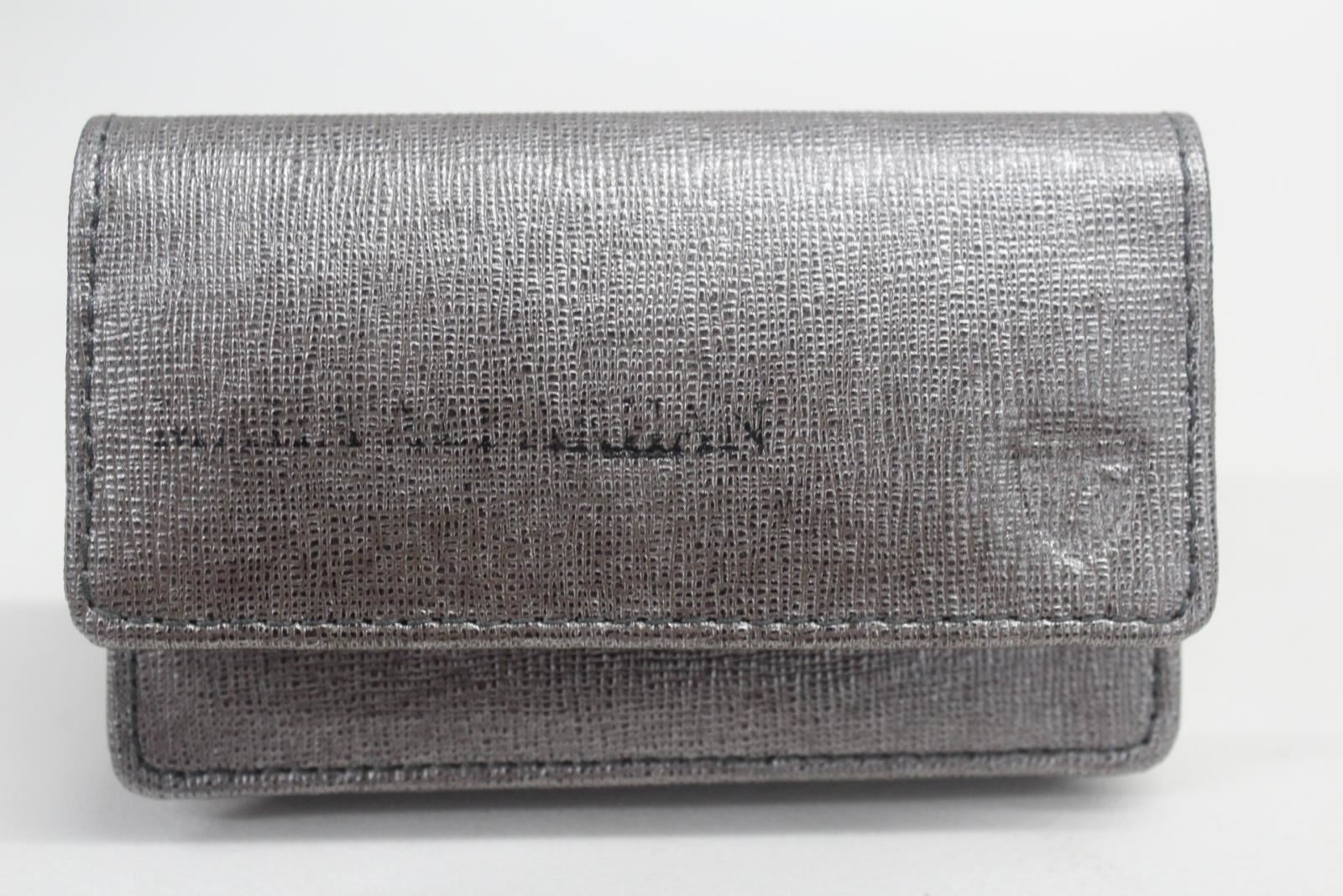 ASPINAL-OF-LONDON-Business-Card-Case-Gunmetal-Saffiano-Initials-Defect-NEW