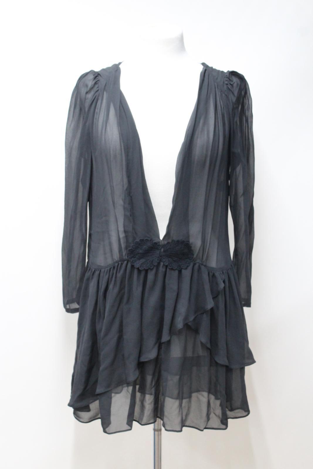MASSCOB-Ladies-Dark-Grey-Sheer-Silk-Chiffon-Deep-V-Neck-Long-Sleeve-Dress-M