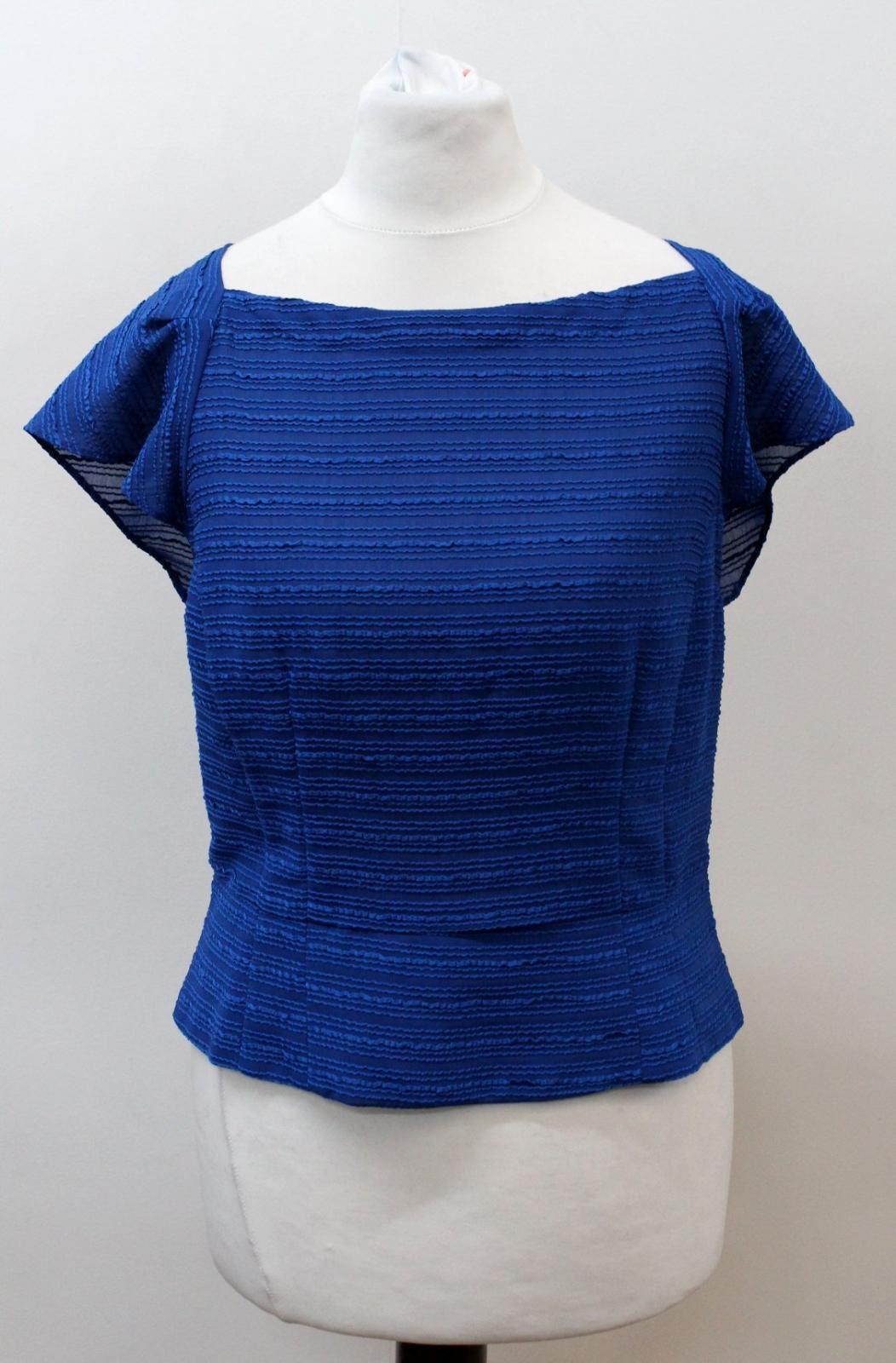 Coraggioso Nanette Lepore Donna Blu Manica Ad Aletta Barchetta Testurizzato Blusa Top Us6 Uk10-mostra Il Titolo Originale