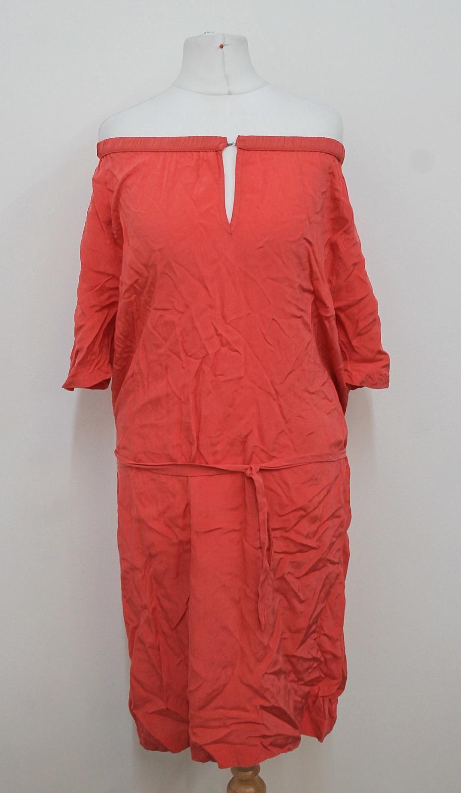 HUMANOID-Ladies-Coral-Pink-Short-Sleeved-Off-Shoulder-Neck-Shift-Dress-M