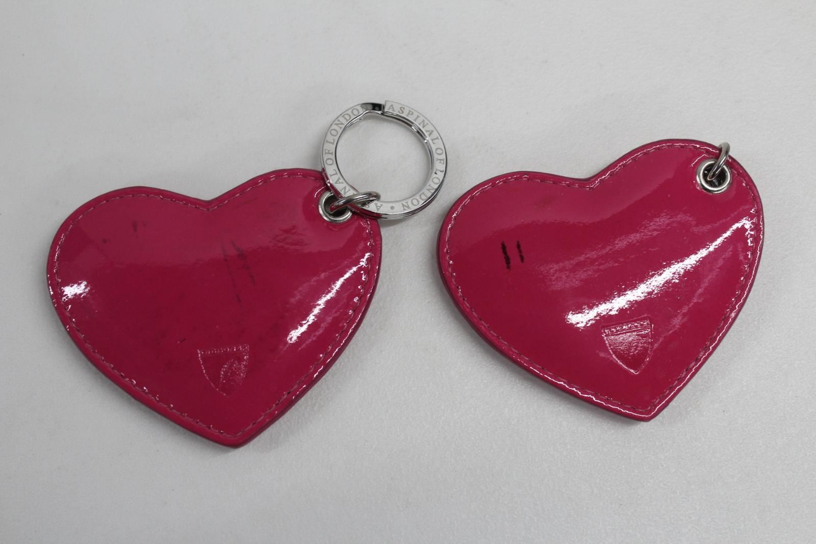 ASPINAL-OF-LONDON-Ladies-Heart-Shaped-Leather-Pastel-Pink-Keyring-Fobs-NEW-2-Set