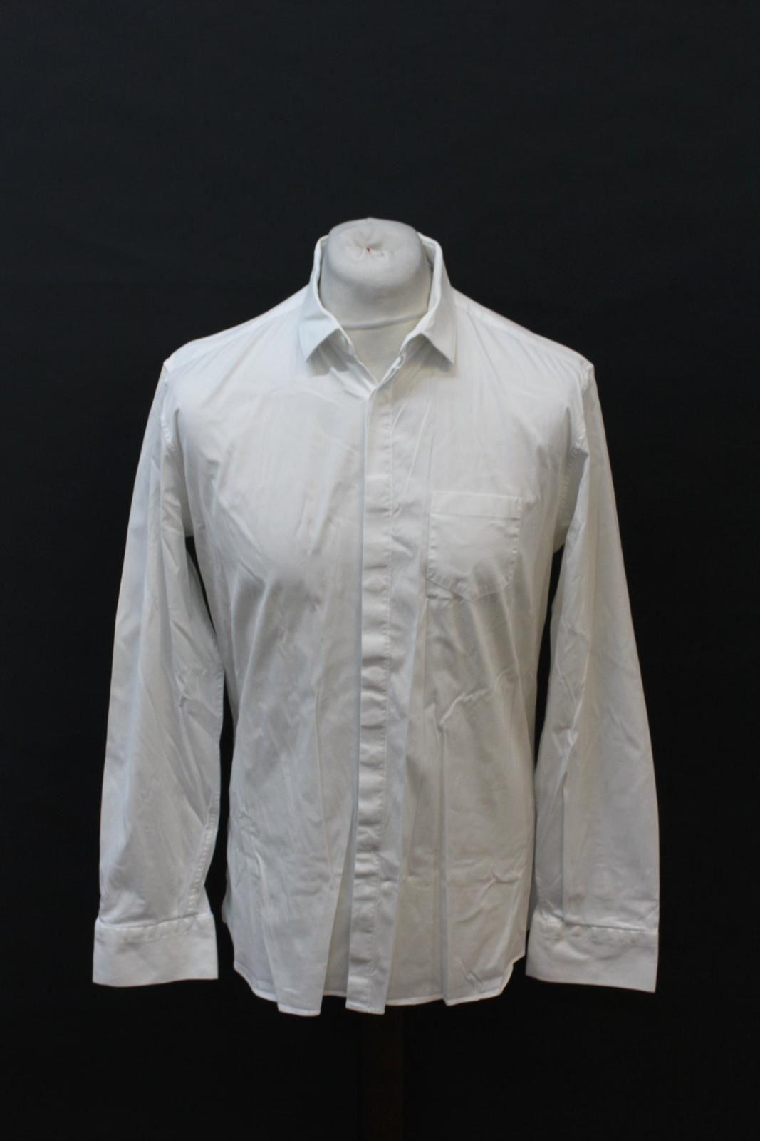 NEIL-BARRETT-Men-039-s-White-Cotton-Blend-Slim-Fit-Formal-Shirt-Collar-16-5-034-42cm