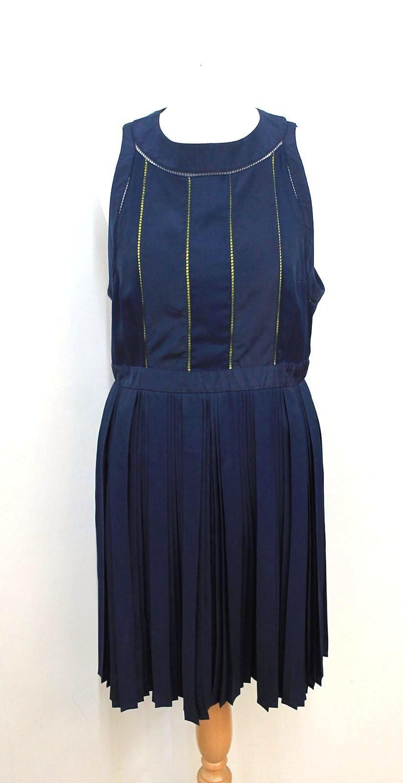 KENZO PARIS Ladies Navy Blue Neon Yellow Sleeveless Shift Dress FR42 UK14
