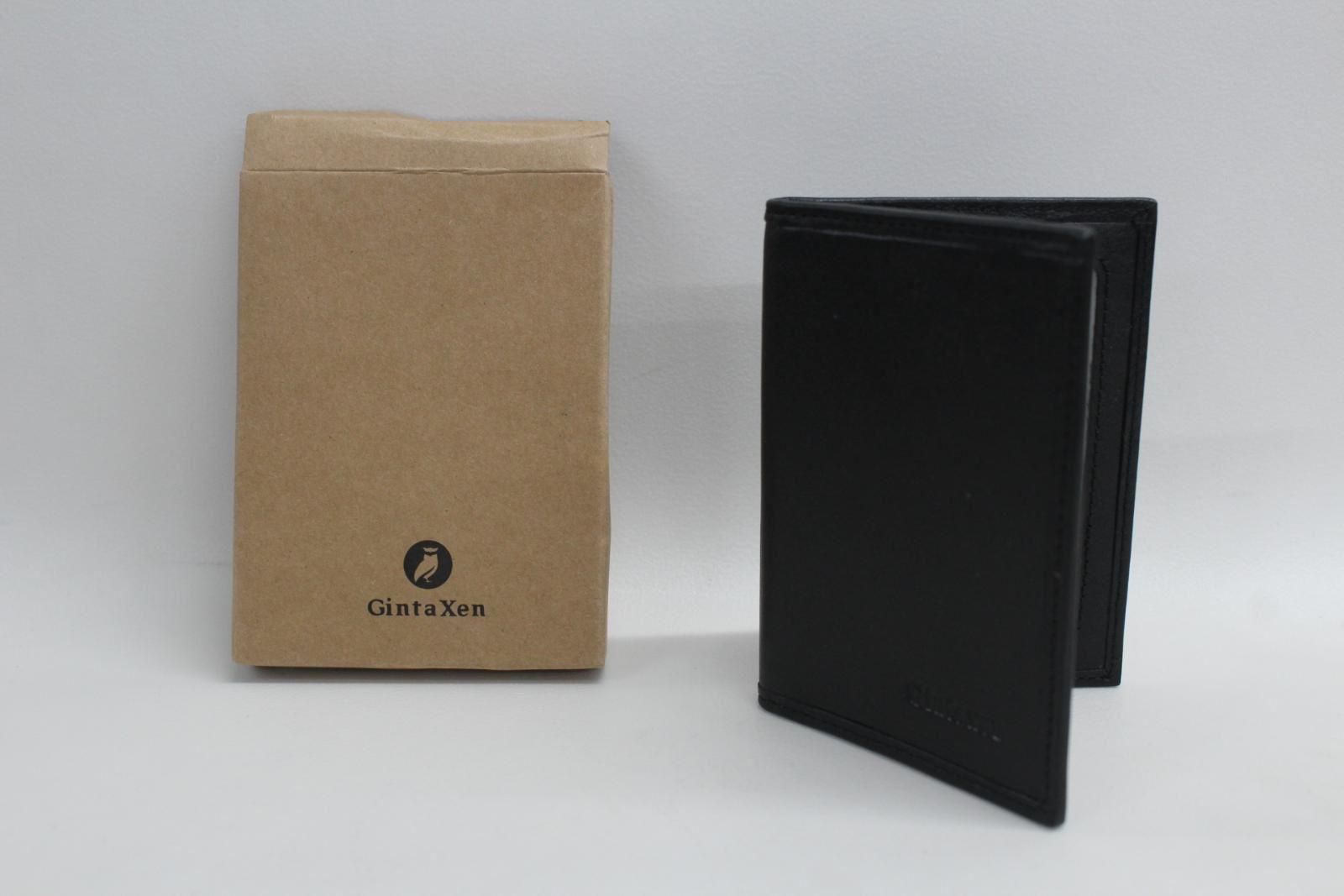 GINTAXEN-Men-039-s-Leather-Wallet-ID-Window-RFID-Bifold-Front-Pocket-Slim-Black-NEW