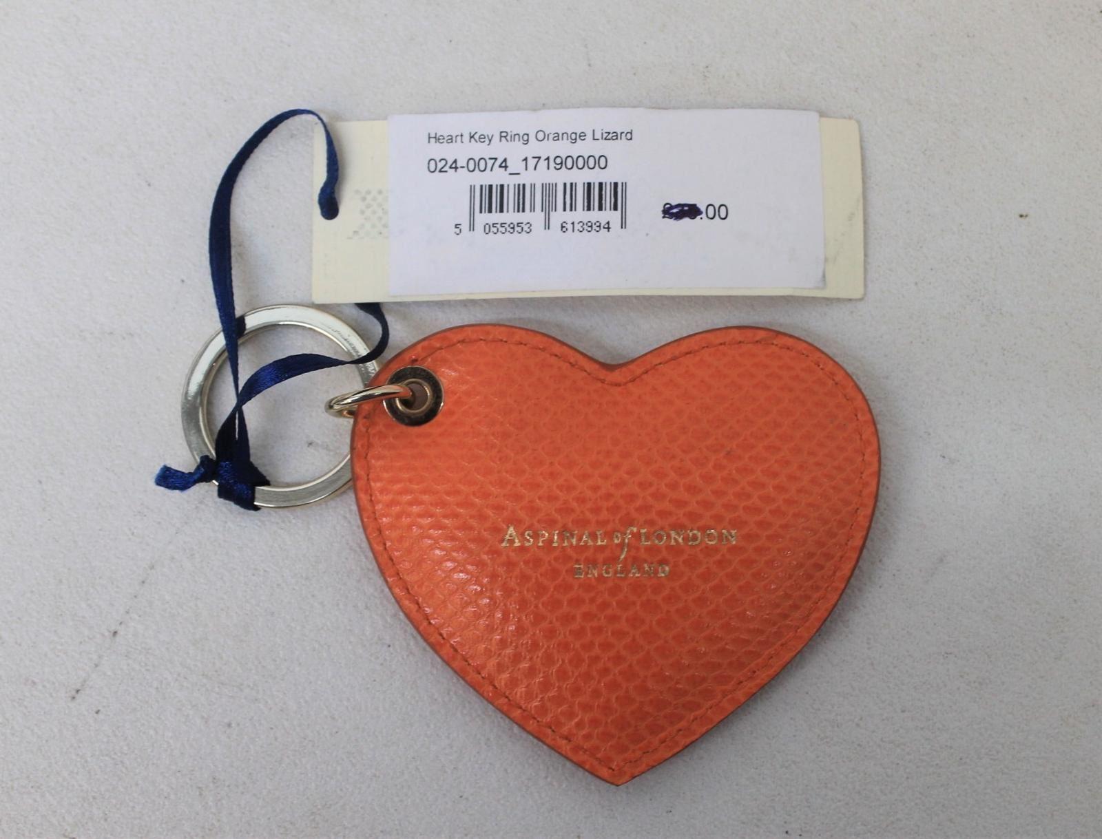 ASPINAL-OF-LONDON-Ladies-Orange-Lizard-Print-Heart-Keyring-Charm-w-Initials-NEW
