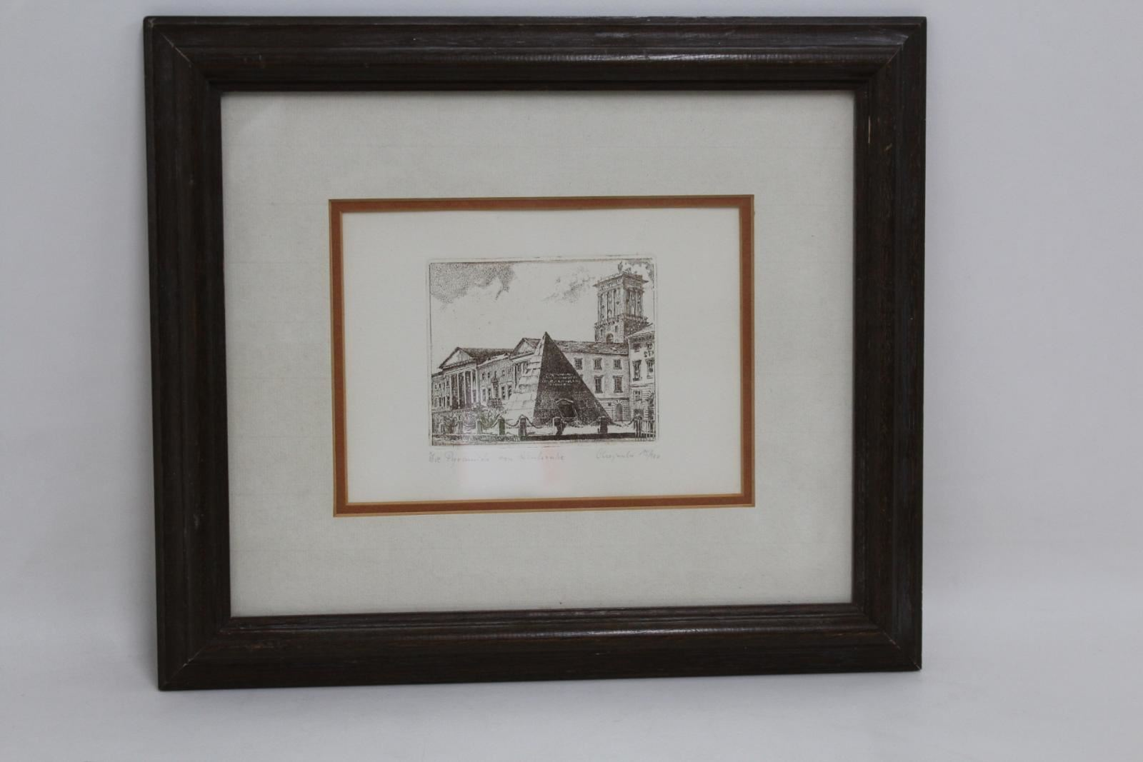 EDMOND-CHOJNACKI-Limited-Edition-Etching-Die-Pyramid-von-Karlsruhe-1984-Art