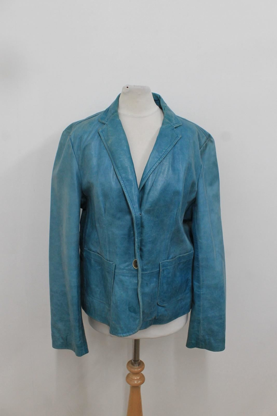 Light Distressed Blue Læder Jacket Dkny Collared Knap Ladies Uk14 Close wE5qBOg