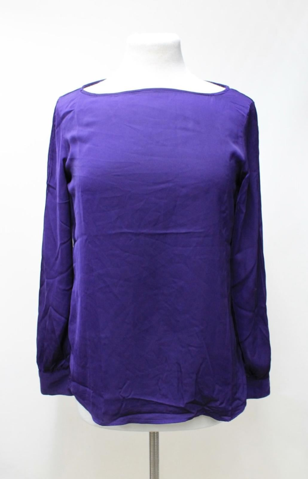 LAUREN-BY-RALPH-LAUREN-Ladies-Purple-Satin-Pleated-Sleeve-Round-Neck-Top-S