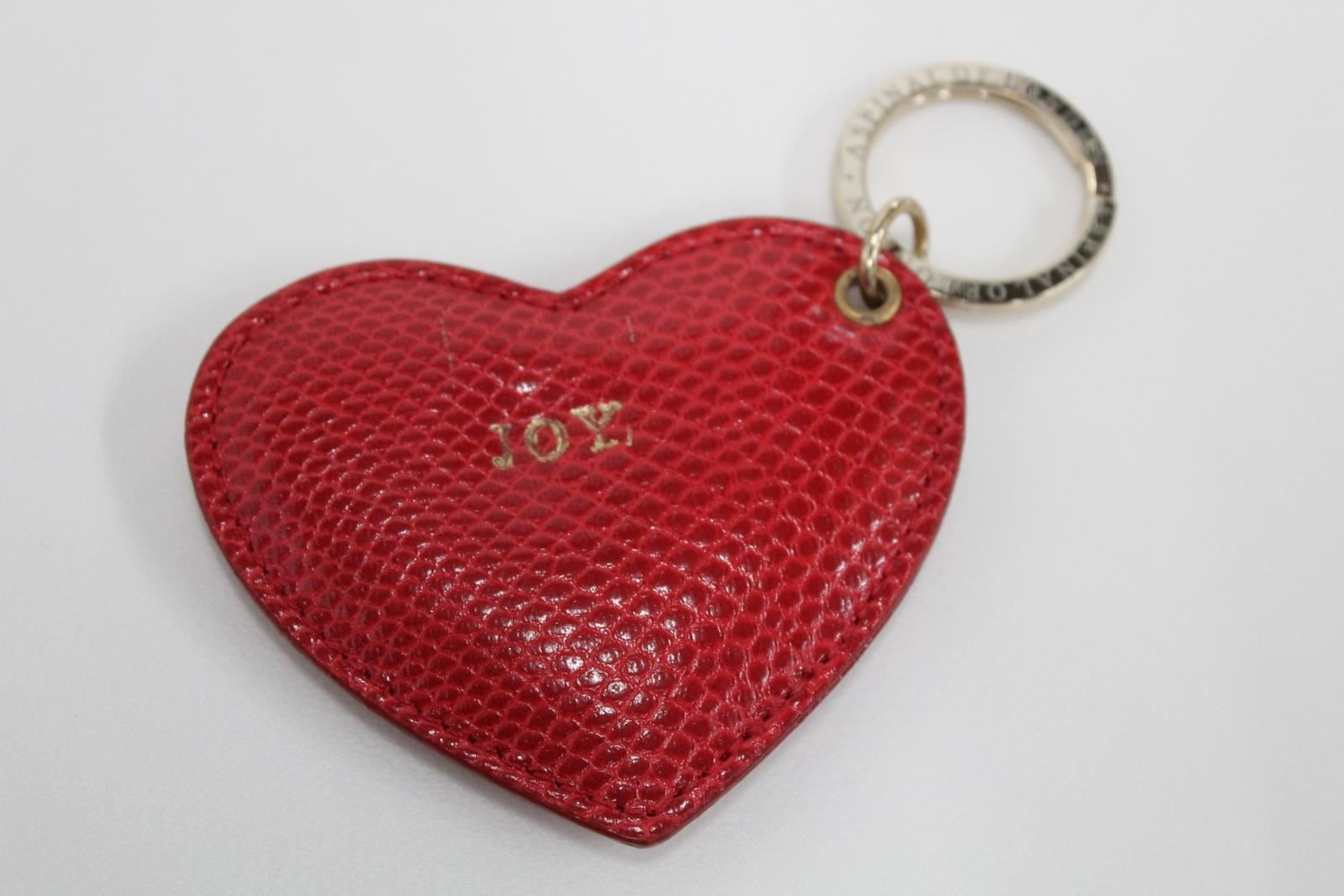 ASPINAL-OF-LONDON-Lizard-Leather-Red-Heart-Soft-Personalised-JOY-Fob-Keyring-NEW