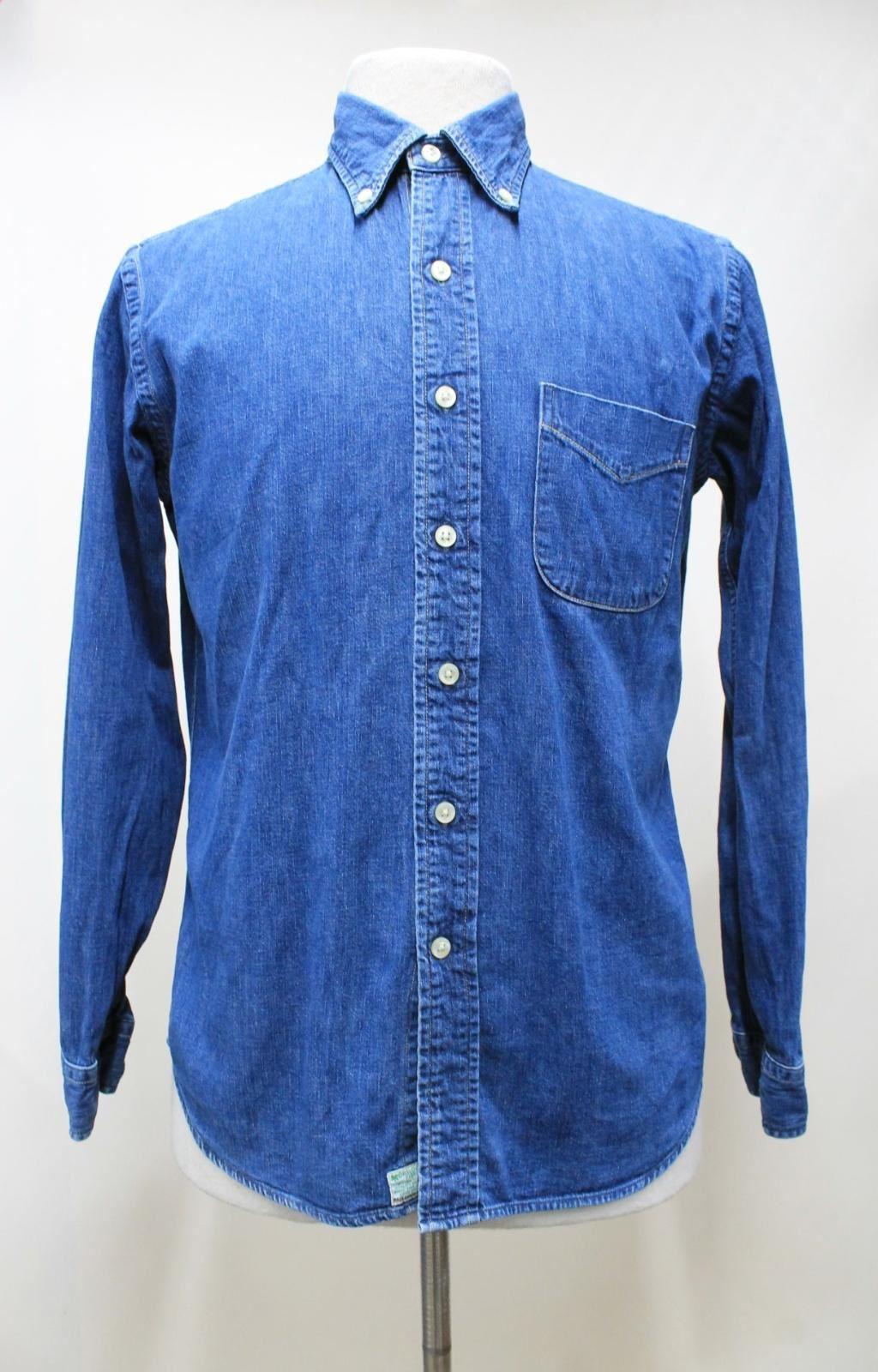 Orslow-Hombres-Azul-Algodon-Denim-Con-Cuello-Botones-camisa-de-mangas-largas-Talla-XL