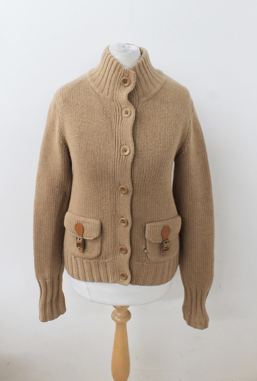 821519af2 RALPH LAUREN Ladies Camel Brown Knitted Long Sleeved Cashmere Wool ...