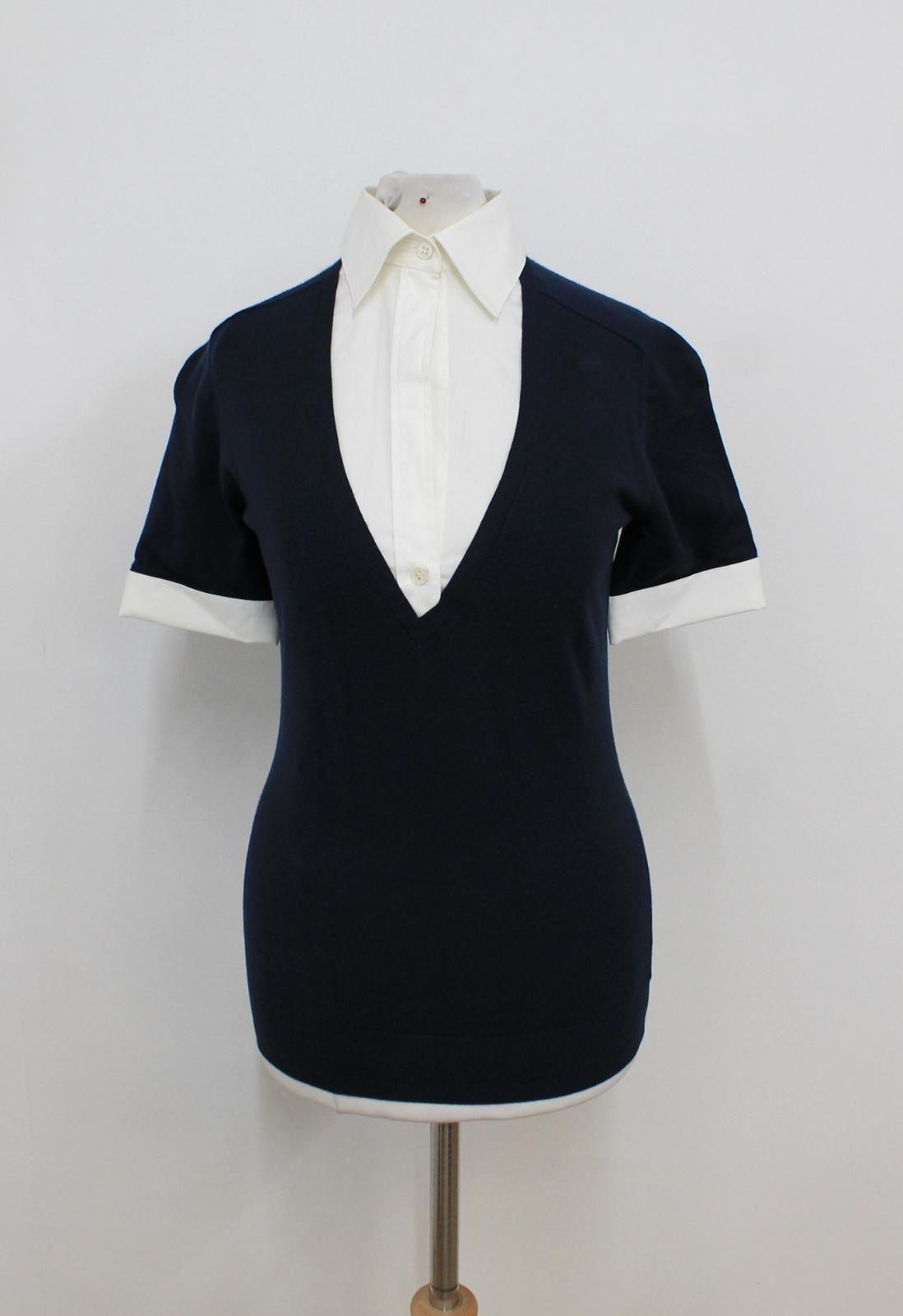 THEORY Ladies Navy Blau Weiß Short Sleeved Shirt Contrast Top Größe P UK4