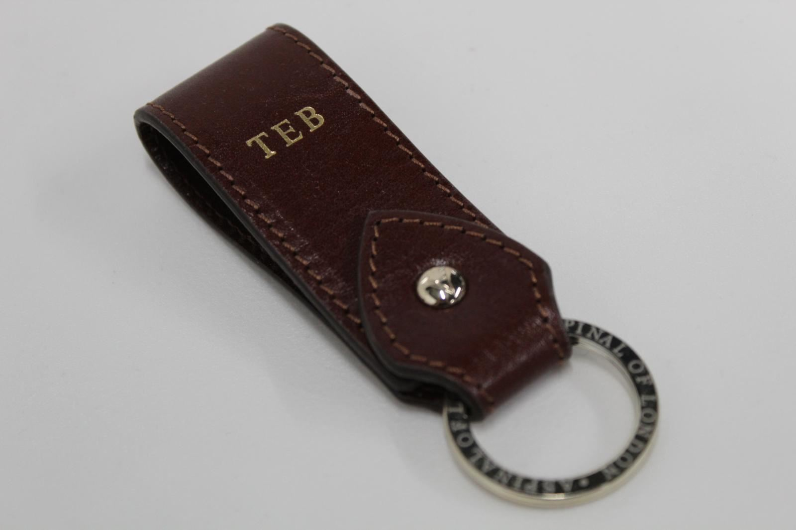 ASPINAL-OF-LONDON-Smooth-Luxury-Stitched-Fob-Brown-Leather-TEB-Keyring-NEW