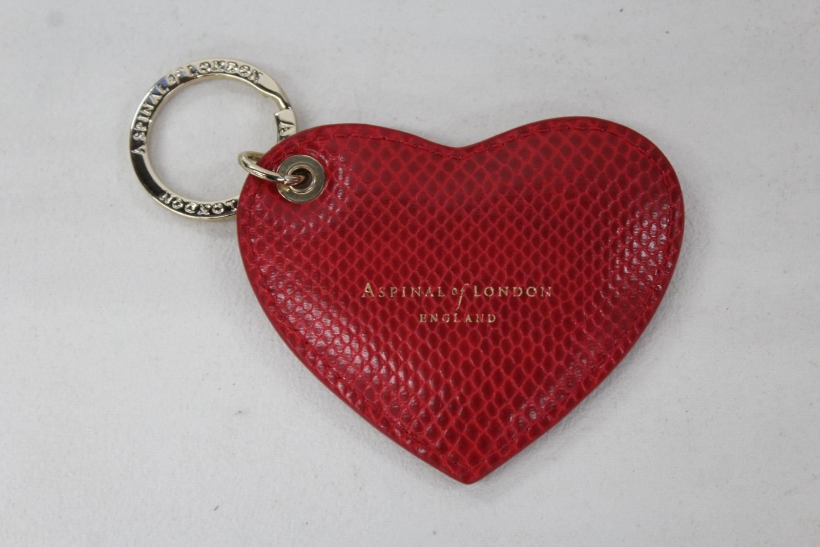 ASPINAL-OF-LONDON-Red-Lizard-Print-Leather-Heart-Padded-Keyring-Bag-Charm-NEW