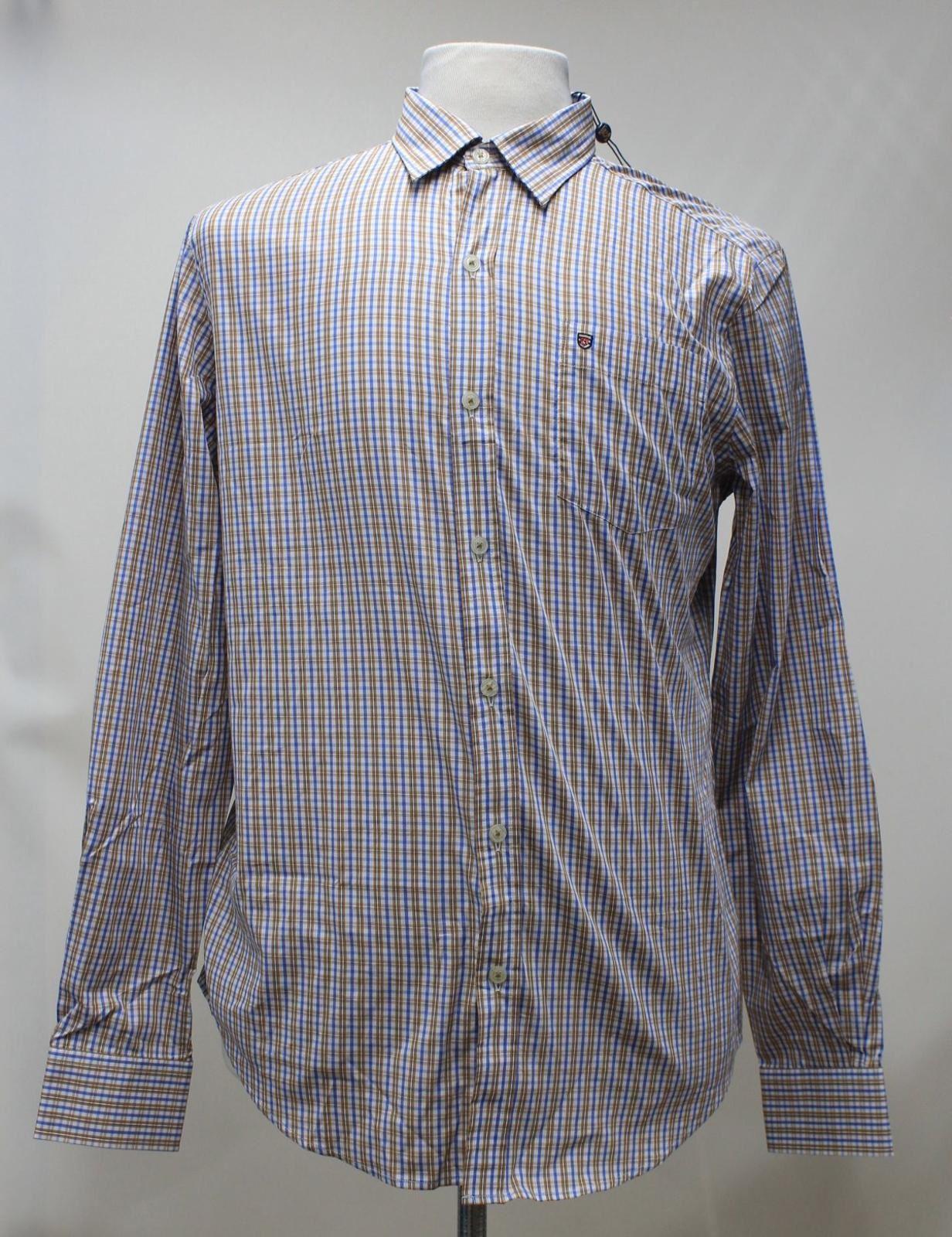 BNWT Dubarry Uomo Marronee Blu cotone check con colletto ballincollig Camicia Taglia M