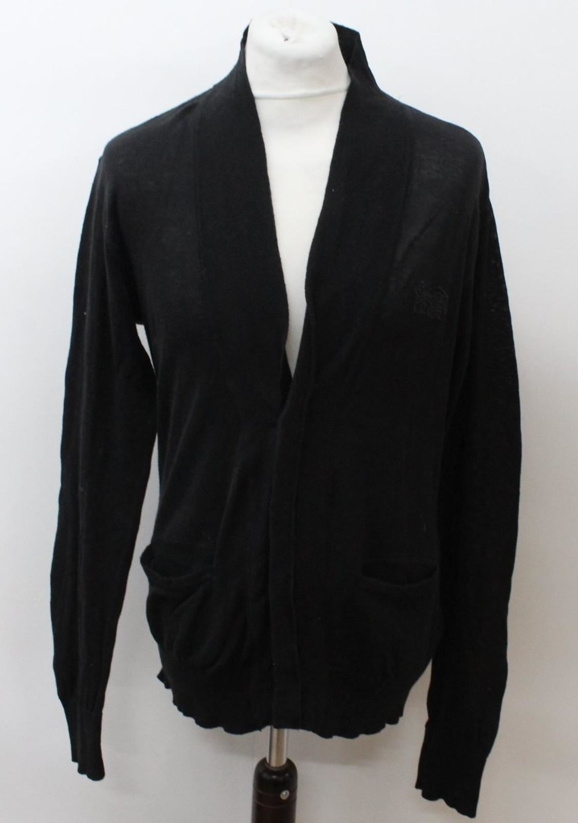 Bolongaro Trevor para hombre Negro algodón mangas largas cardigan delantera botón-Talla L