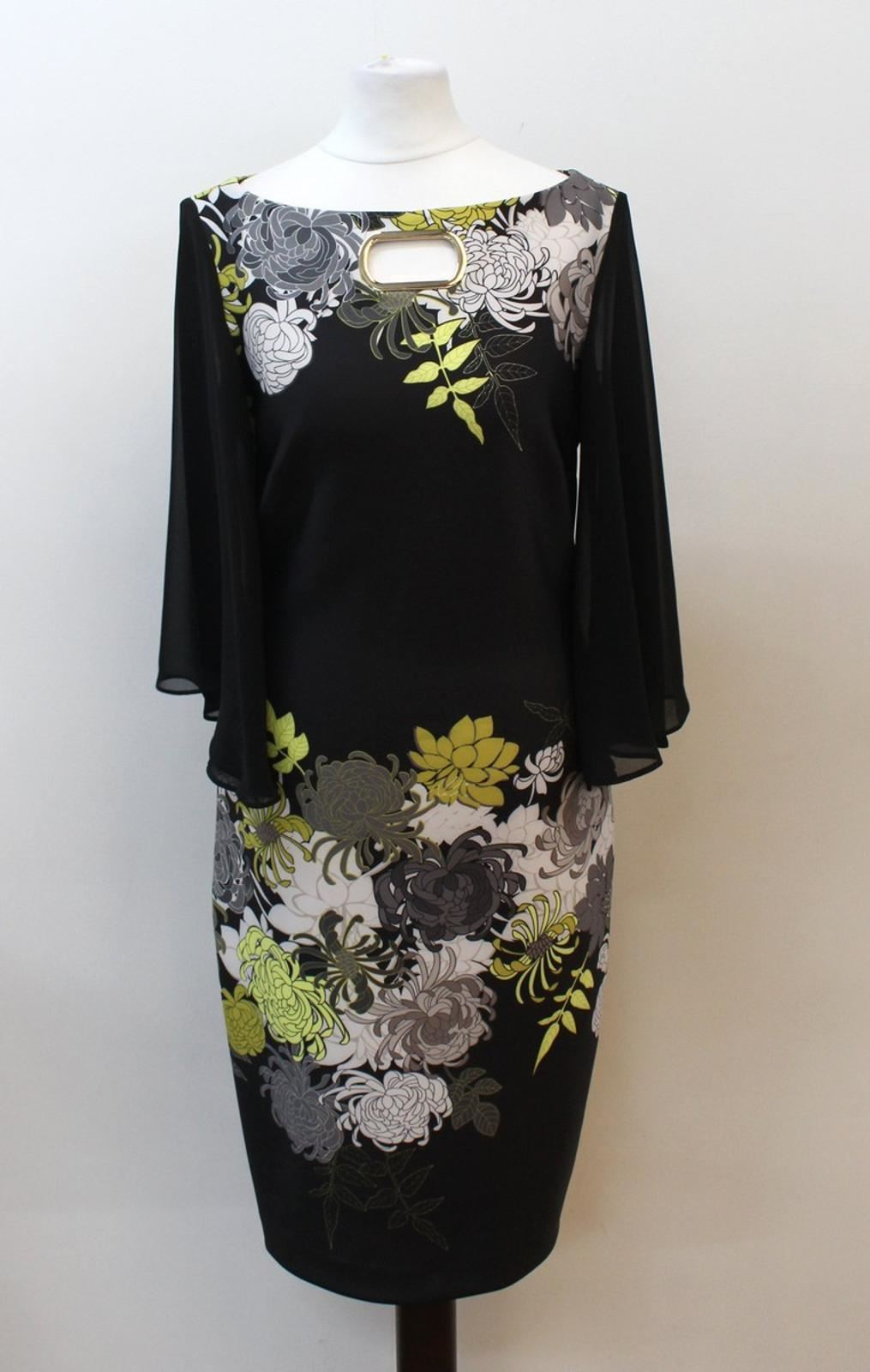 JOSEPH-RIBKOFF-Ladies-Black-3-4-Sheer-Sleeve-Floral-Print-Dress-UK10-EU38-BNWT