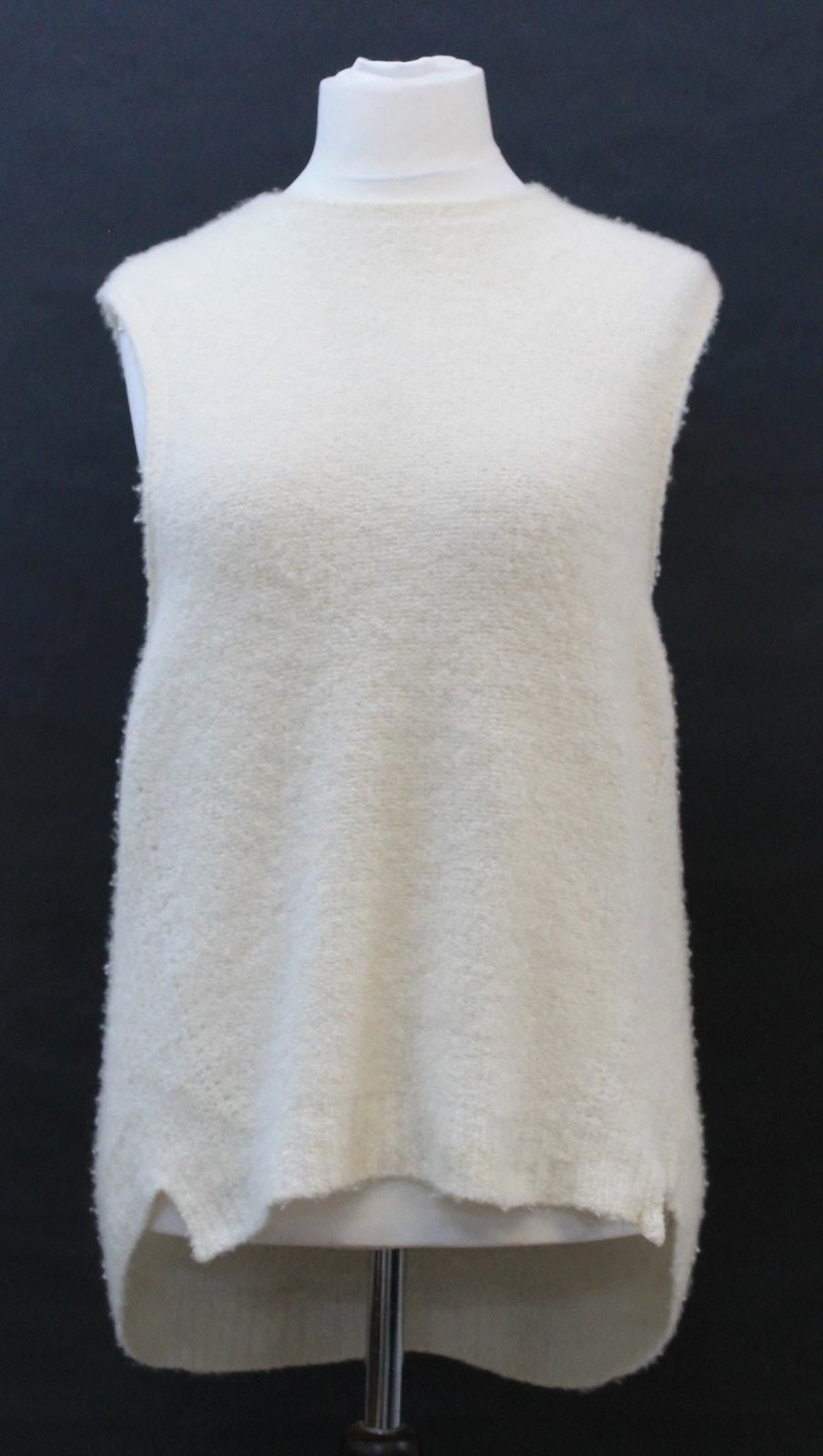 MILLY Ladies Beige Cashmere Blend Sleeveless High-Low Vest Jumper Size L