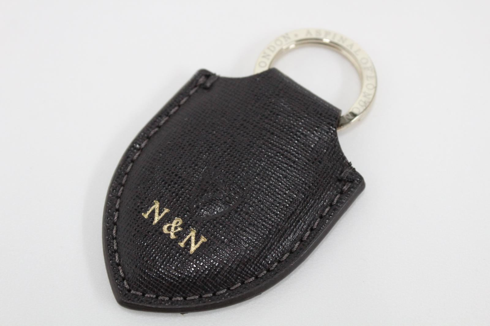 ASPINAL-OF-LONDON-Leather-Saffiano-Brown-Shield-Fob-Initials-N-amp-N-Keyring-NEW
