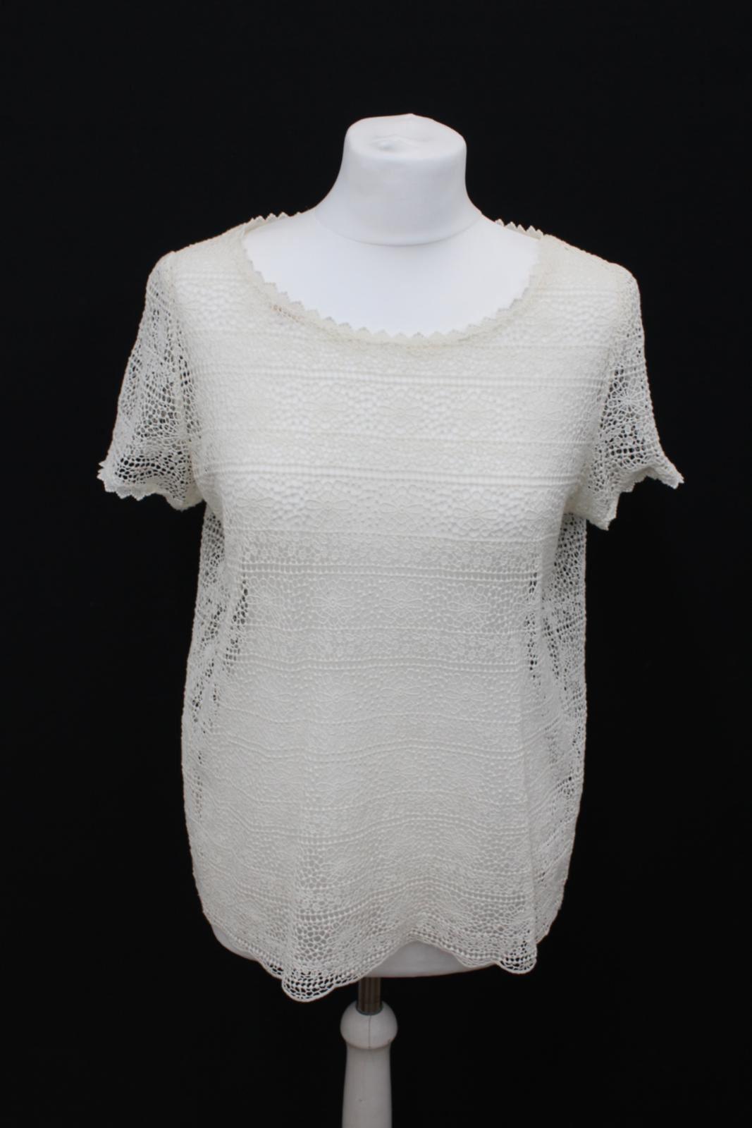DES PETITS HAUTS Marelle Ladies Cream Lace Short Sleeve T Shirt Größe T2 M