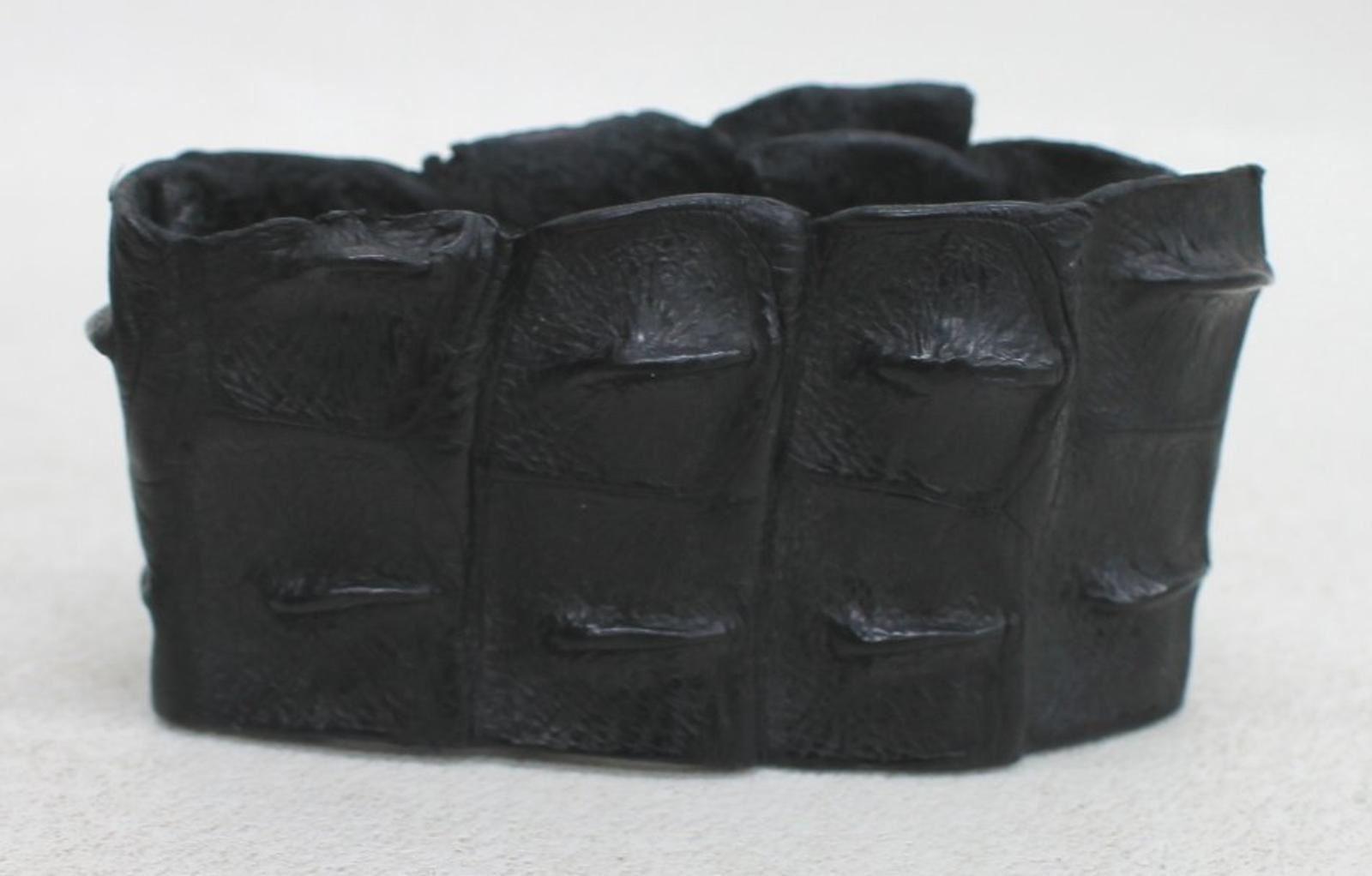 Ladies-Black-Alligator-Leather-40mm-Width-Single-Stud-Fasten-Bracelet-Wrist-Cuff