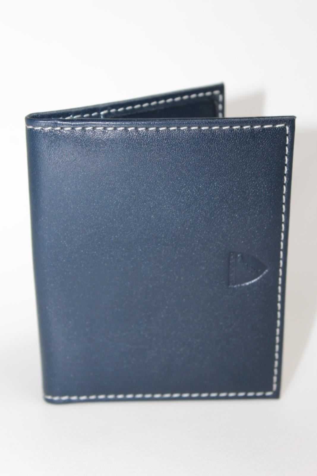 ASPINAL-OF-LONDON-Navy-Blue-w-Red-Lining-Embossed-ID-And-Travel-Card-Case-Wallet