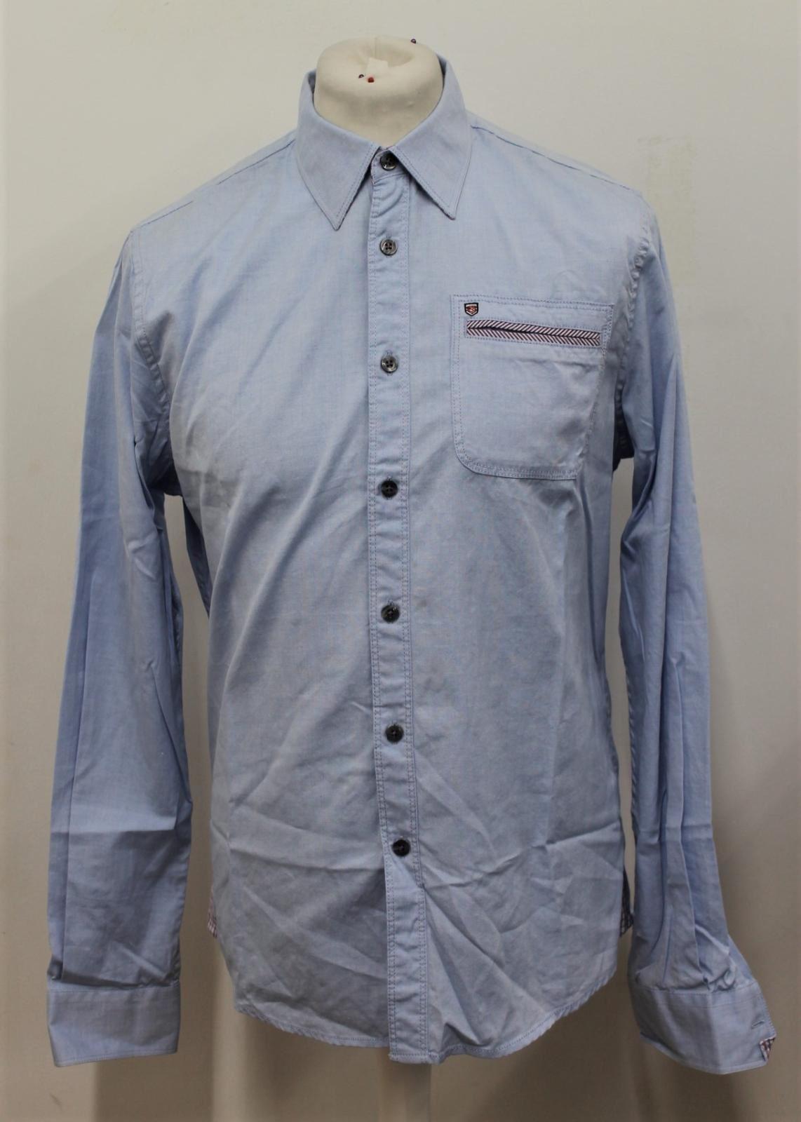 BNWT Dubarry uomo ballsbridge blu manica lunga puro cotone Camicia Taglia S