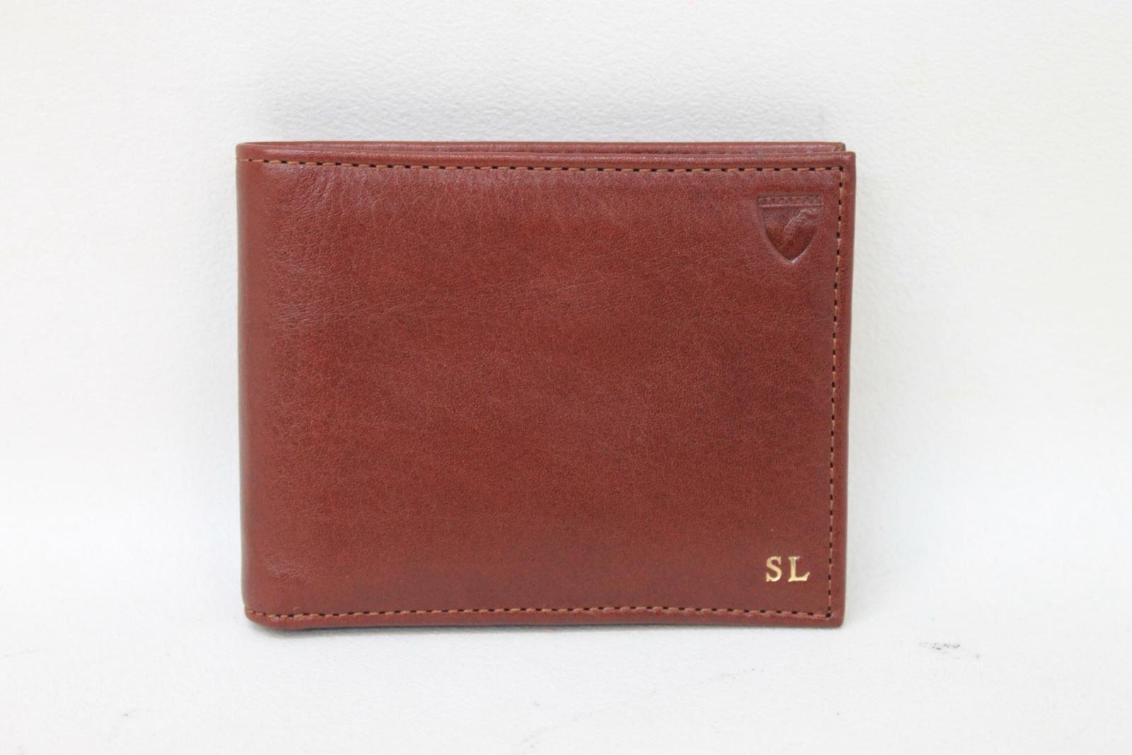 NWOT-ASPINAL-OF-LONDON-Men-039-s-Cognac-Smooth-Leather-Bifold-Wallet-Card-Holder