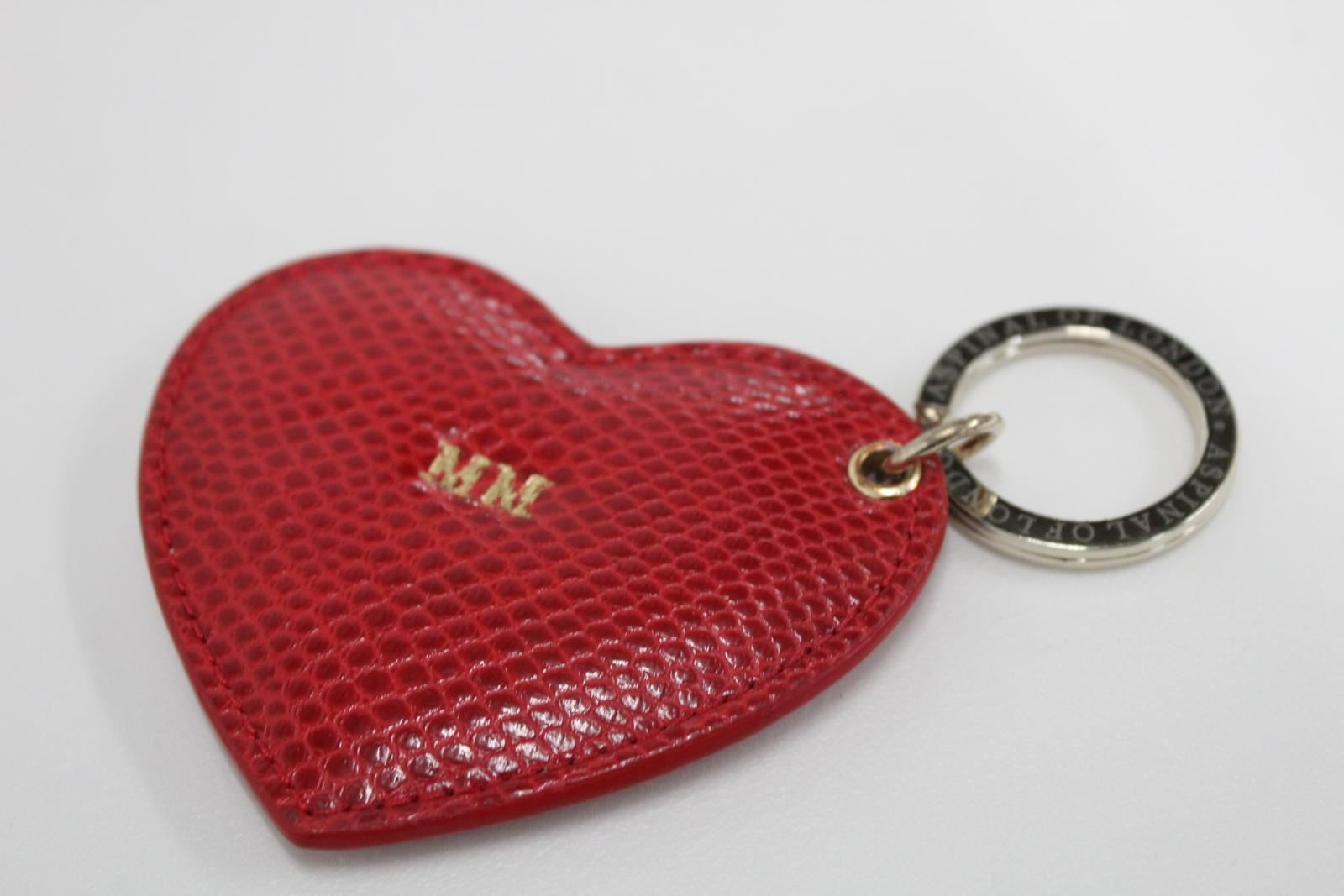 ASPINAL-OF-LONDON-Lizard-Leather-Red-Heart-Gold-Initials-M-M-Fob-Keyring-NEW