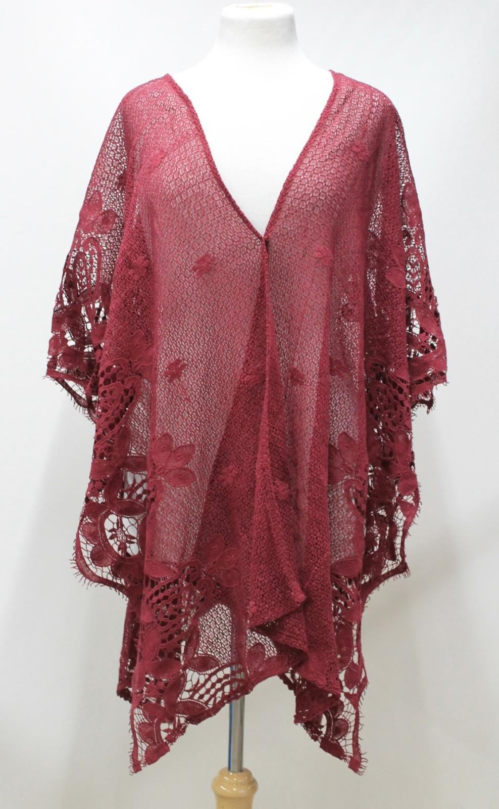 MIGUELINA Ladies Claret Red Crocheted Cotton Lace Gaby Kaftan Top Size L