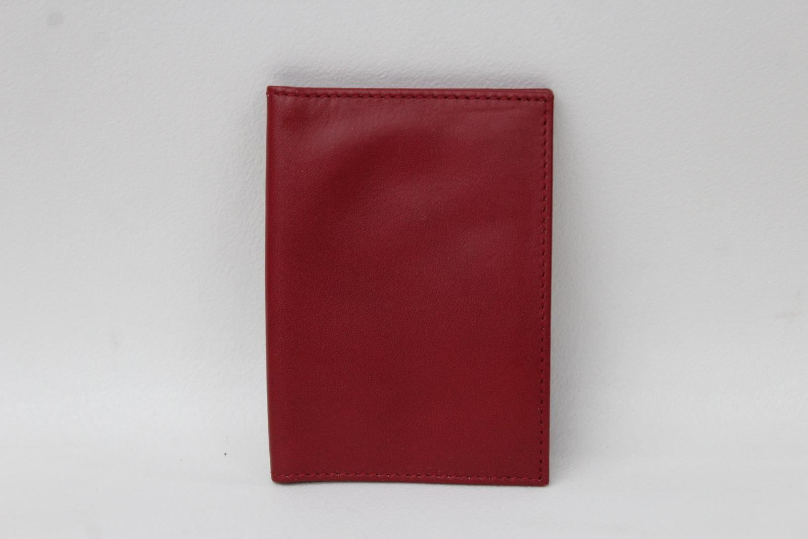 KIKI-JAMES-Men-039-s-Red-Beige-Lining-Leather-Bifold-2-Slot-ID-Card-Wallet-NEW