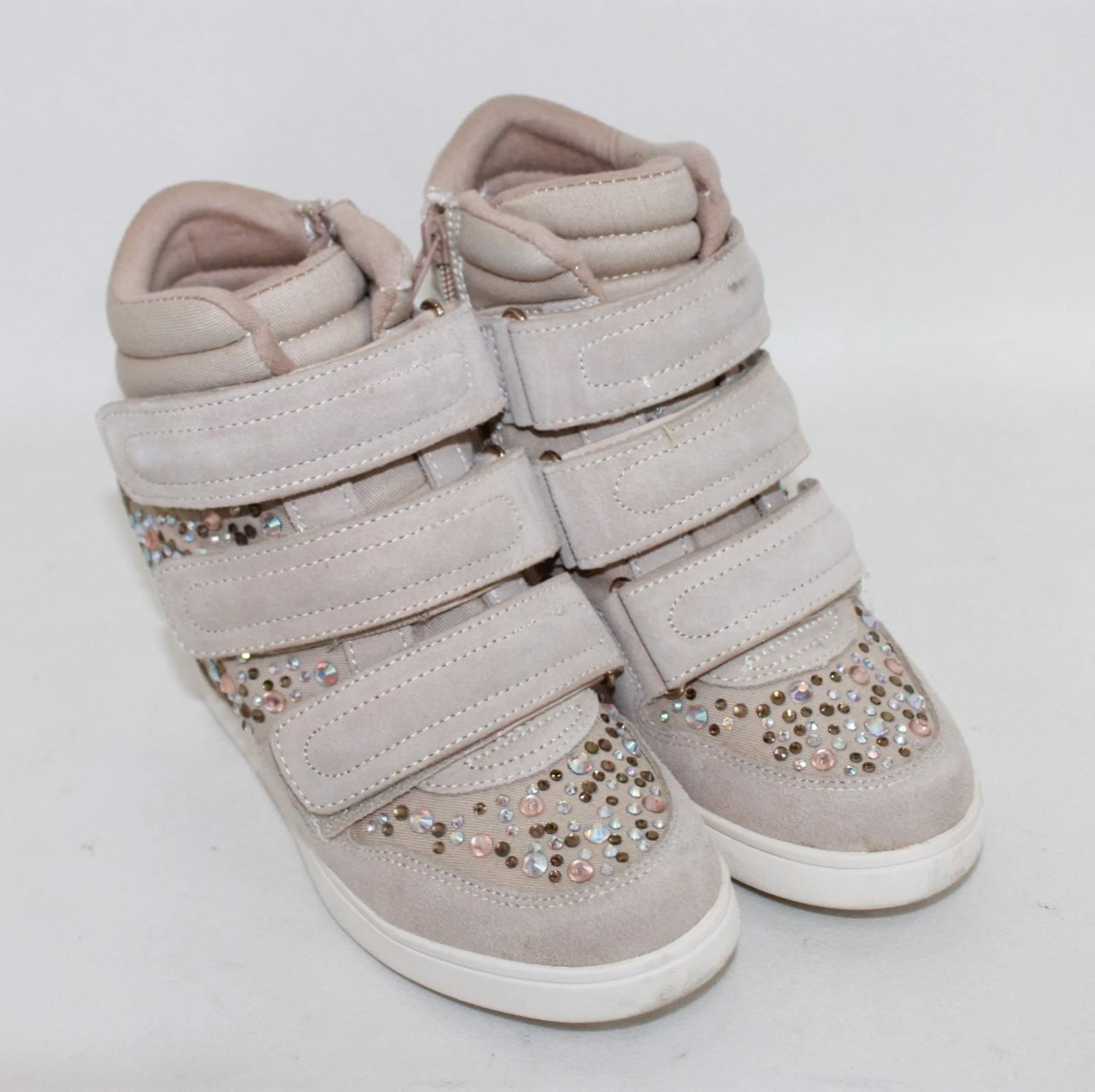 5be03afb12 ALDO Ladies Beige Sparkly Crystals Suede High Top Sneakers Shoes UK3 ...