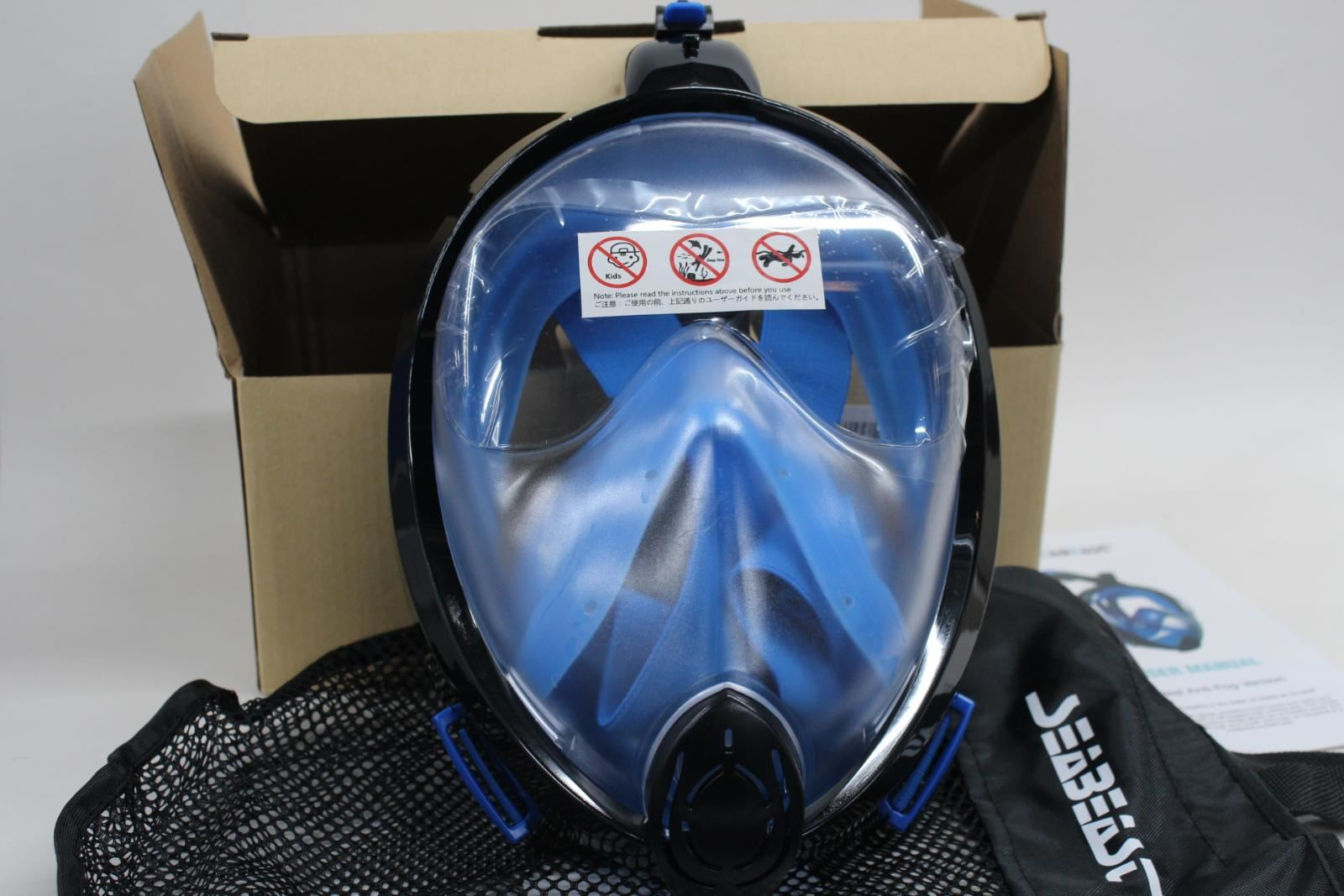 NEW SEABEAST AF90 Full Face Snorkel Real Anti-Fog Snorkelling Mask Large View