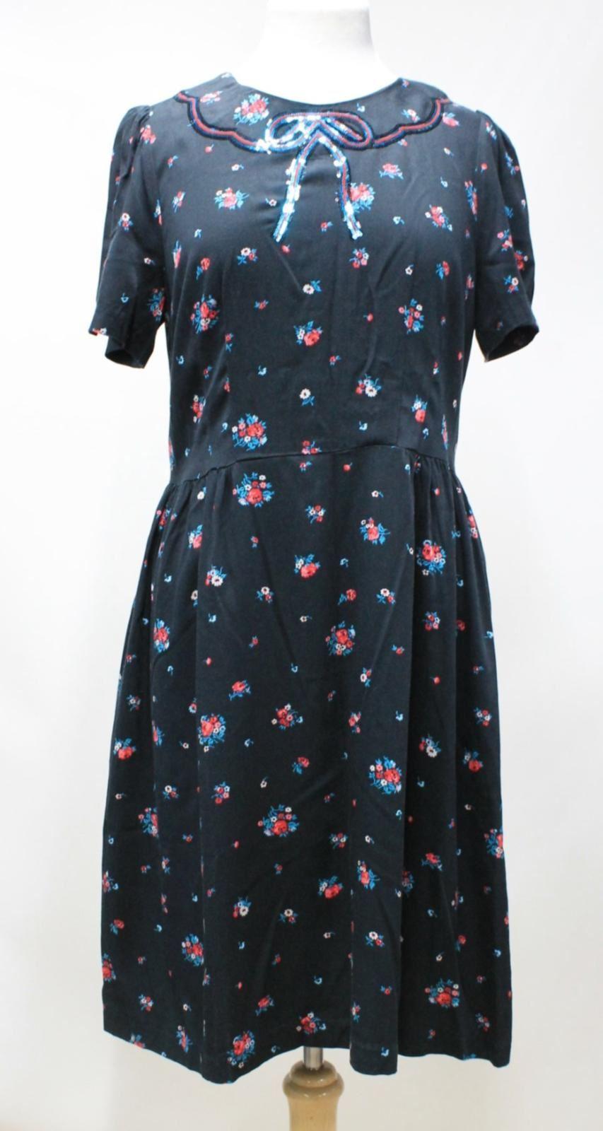 Bnwt scuro Print paillettes Uk14 Cath Shift dettaglio Kidston grigio Dress Rose Ladies Op4rORq