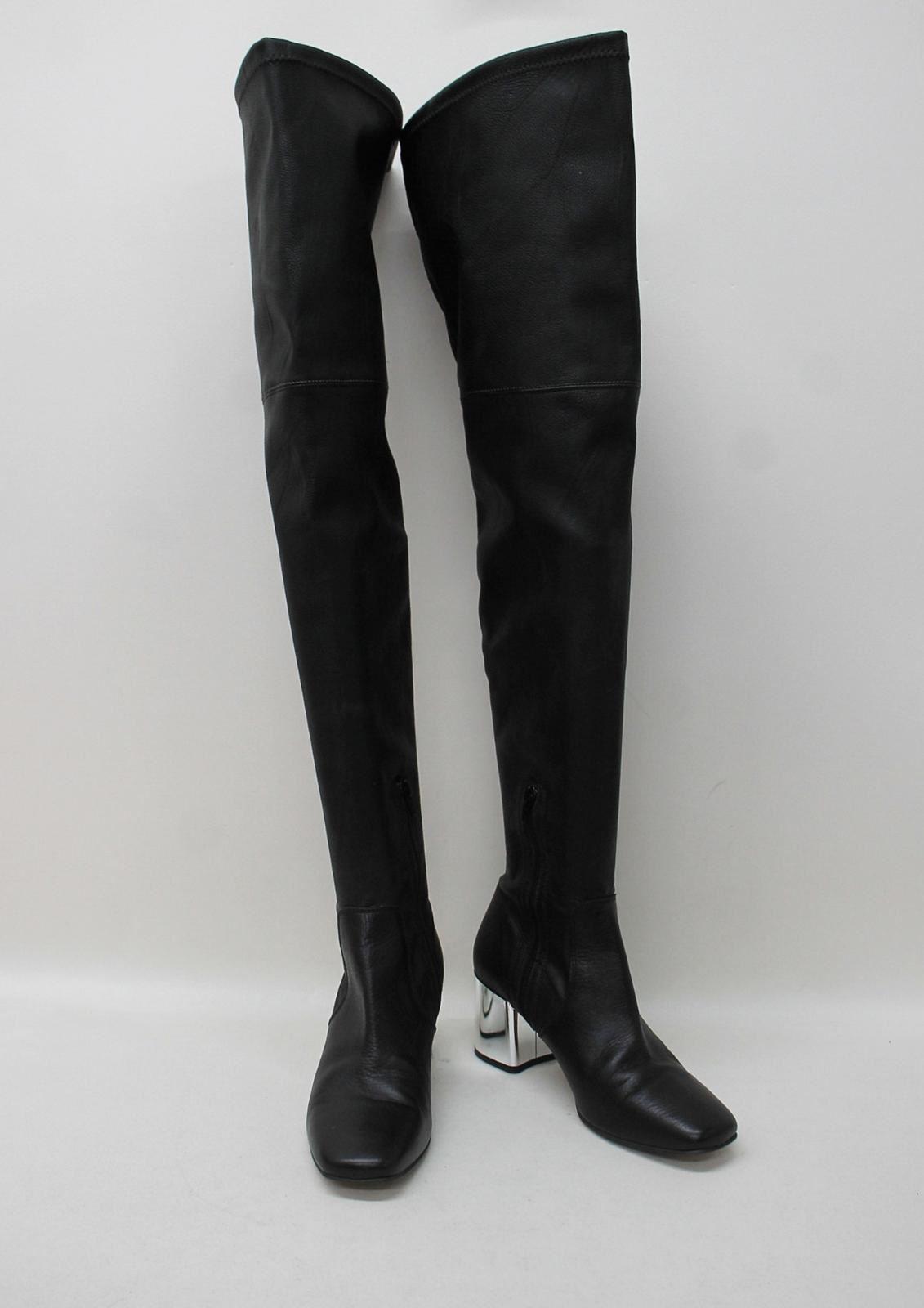 CARVELA-KURT-GEIGER-Ladies-Black-Leather-Block-Heeled-Over-Knee-Boots-EU40-UK7